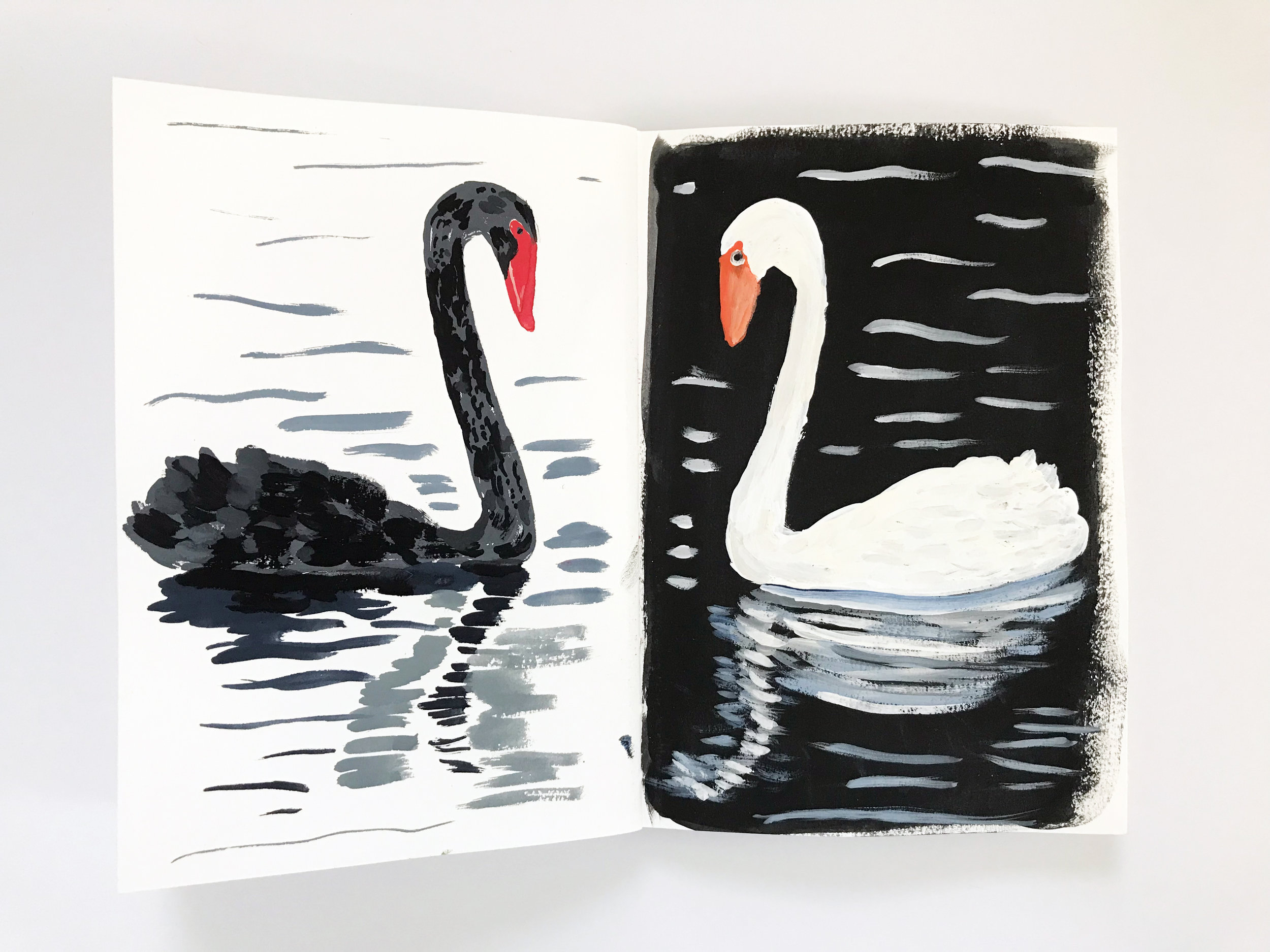 a page from my second collaborative Sketchbook with Dana Barbieri (my swan is on the right)
