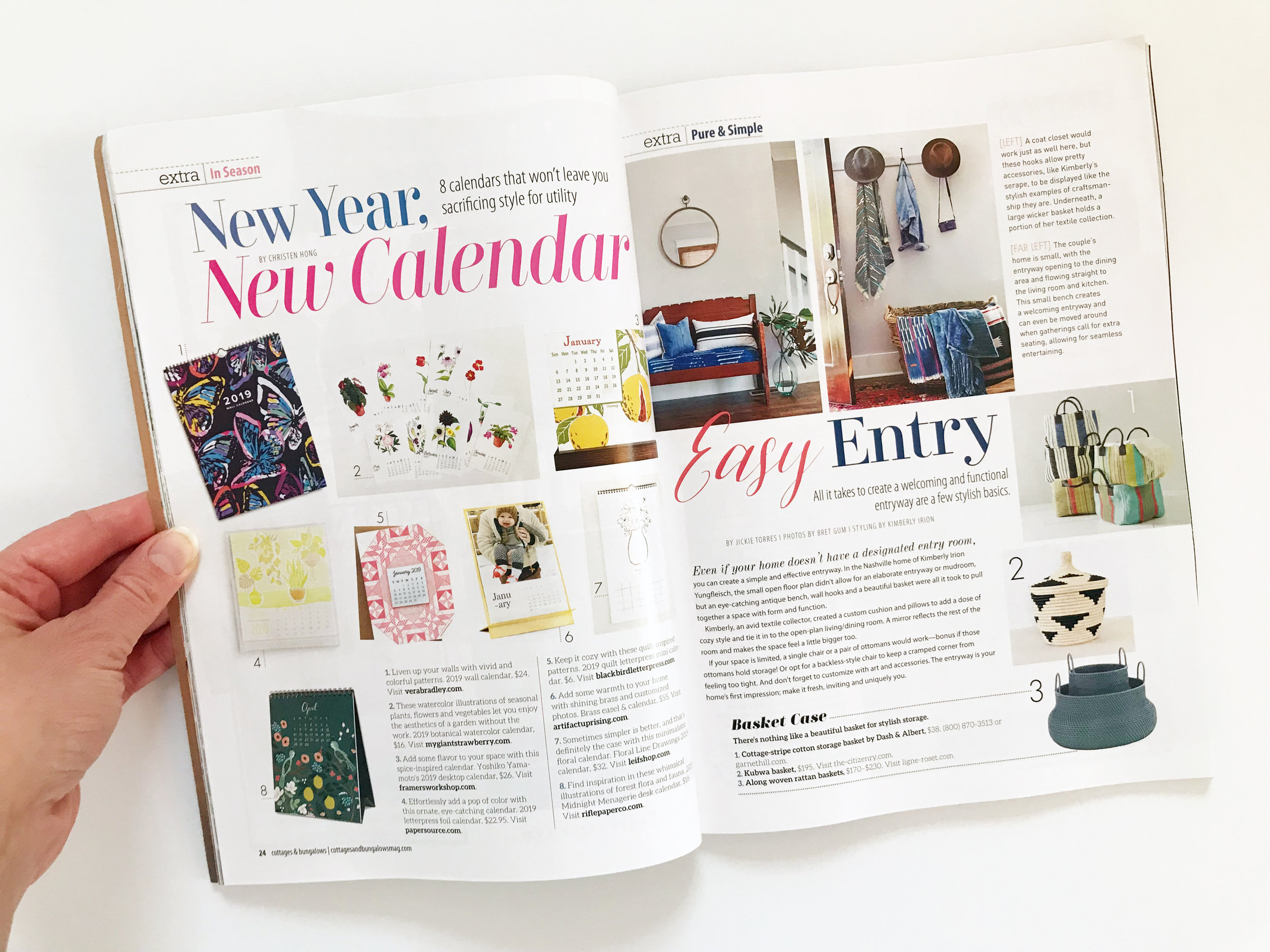 My 2019 Botanical Watercolor Calendar is Featured in the February/March 2019 Issue of Cottages and Bungalows Magazine