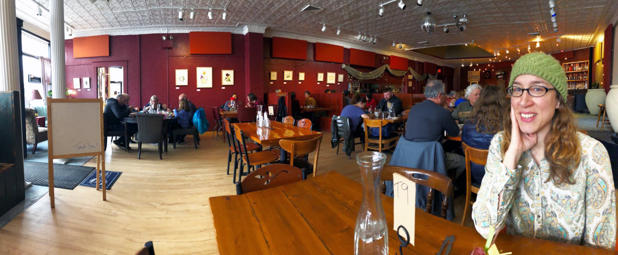 At the Rooted Spoon in Viroqua Wisconsin Enjoying Brunch and a show of my watercolor paintings