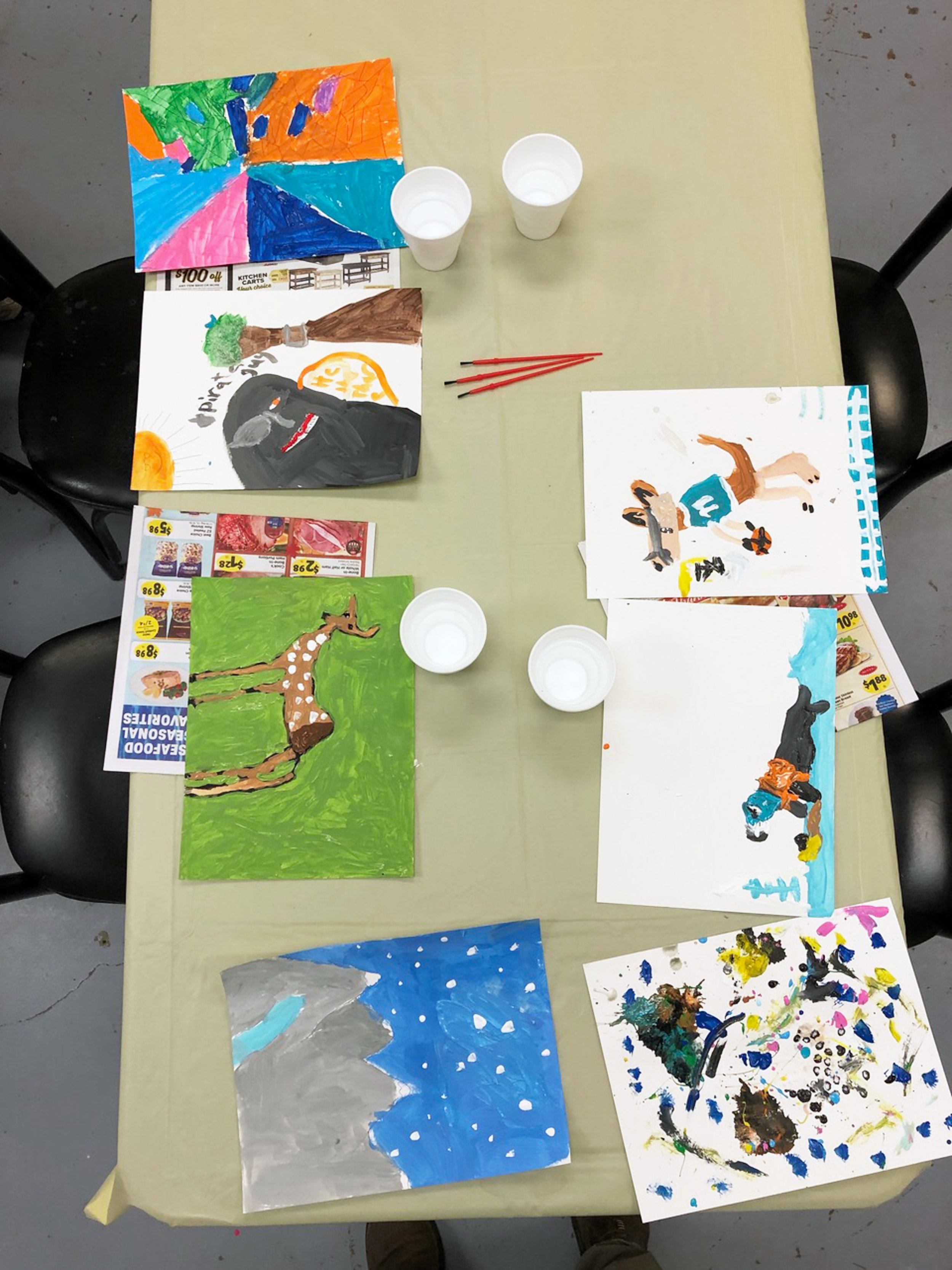 Paintings from an art night I taught for the girl scouts last week