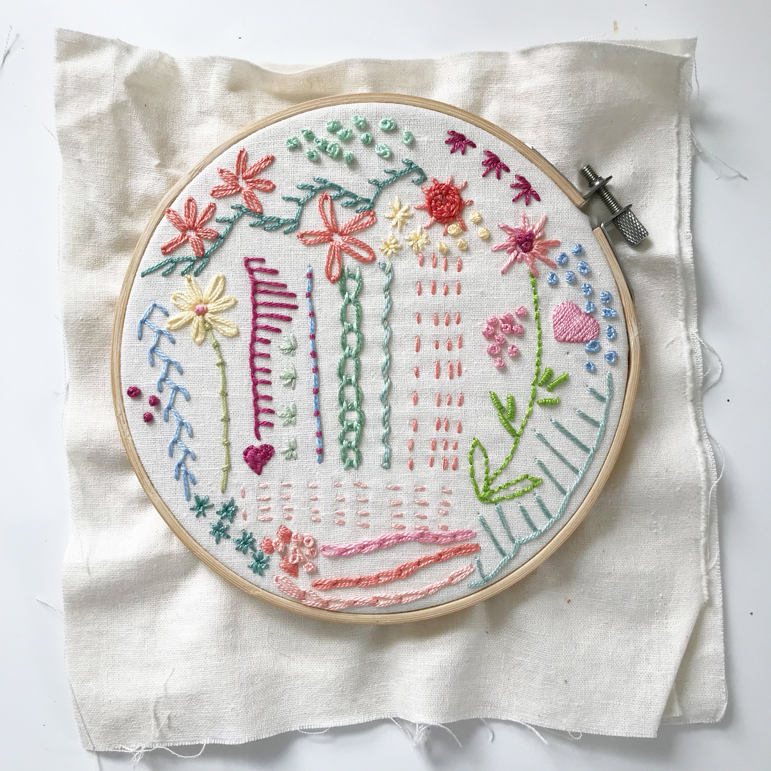 A Sampler of Embroidery Stitches I Created Recently