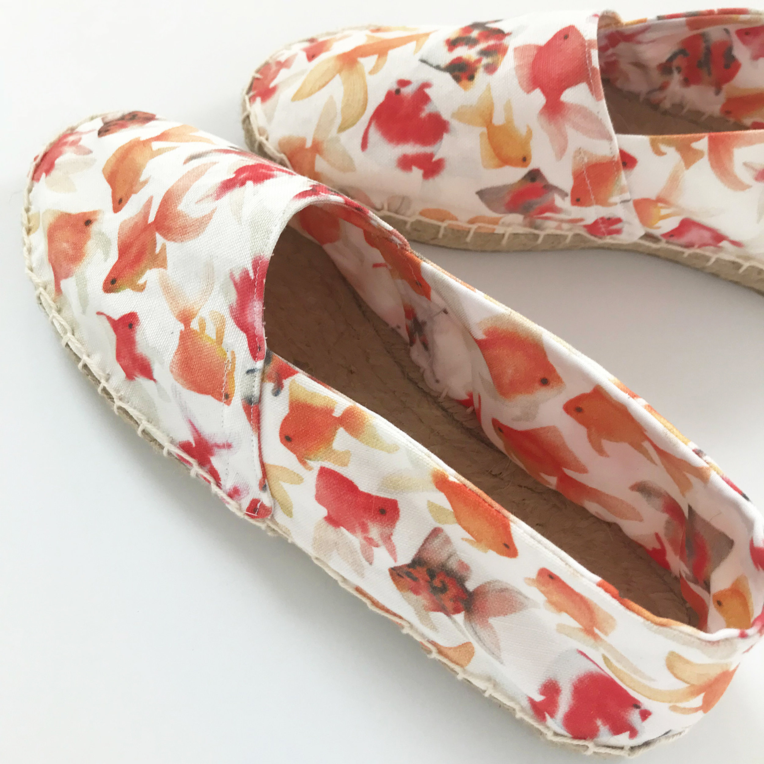 The Shoes I Sewed with My Goldfish Fabric from Spoonflower and the Kit from A Happy Stitch