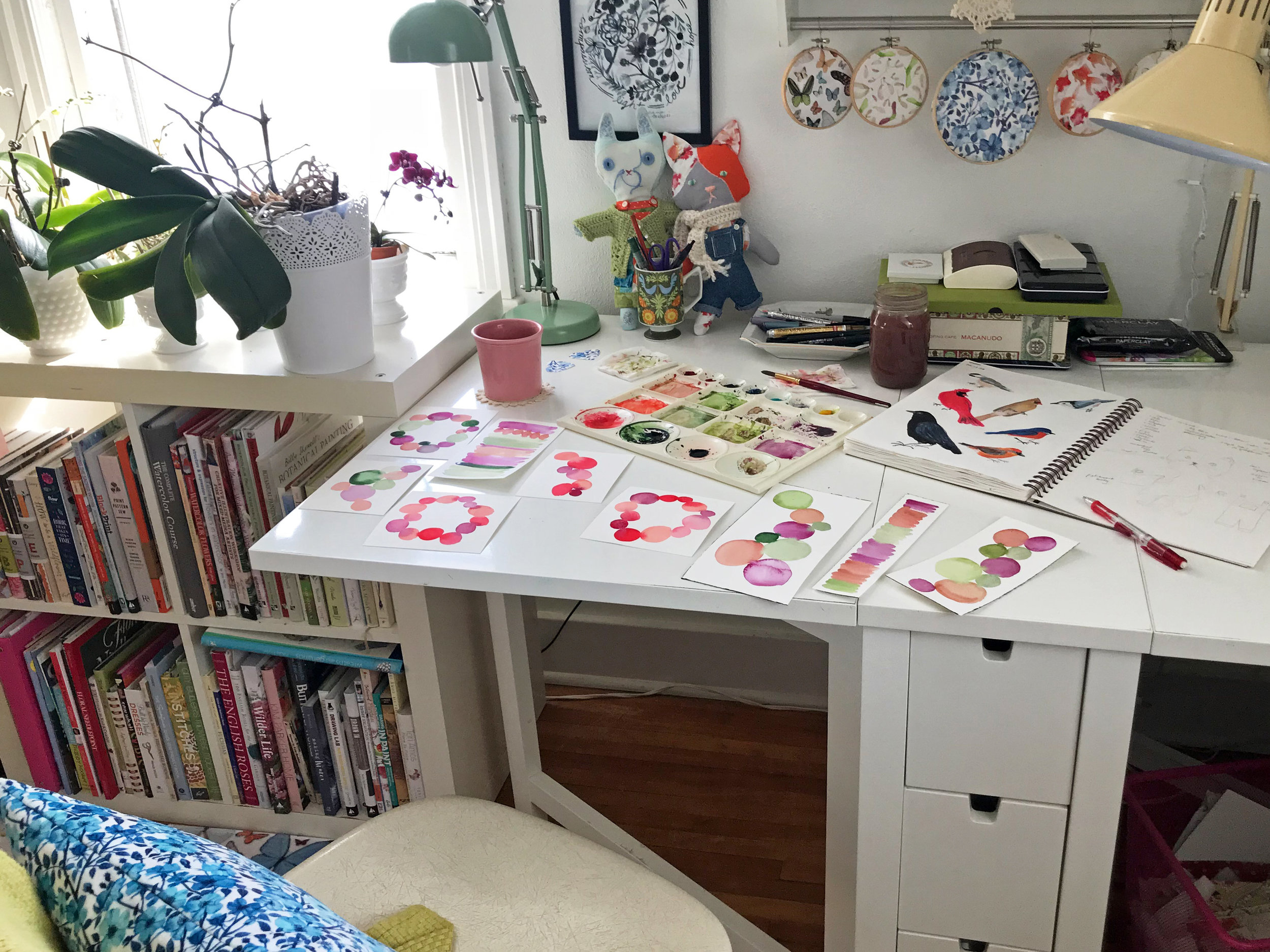 My messy studio work table with lots of projects in progress
