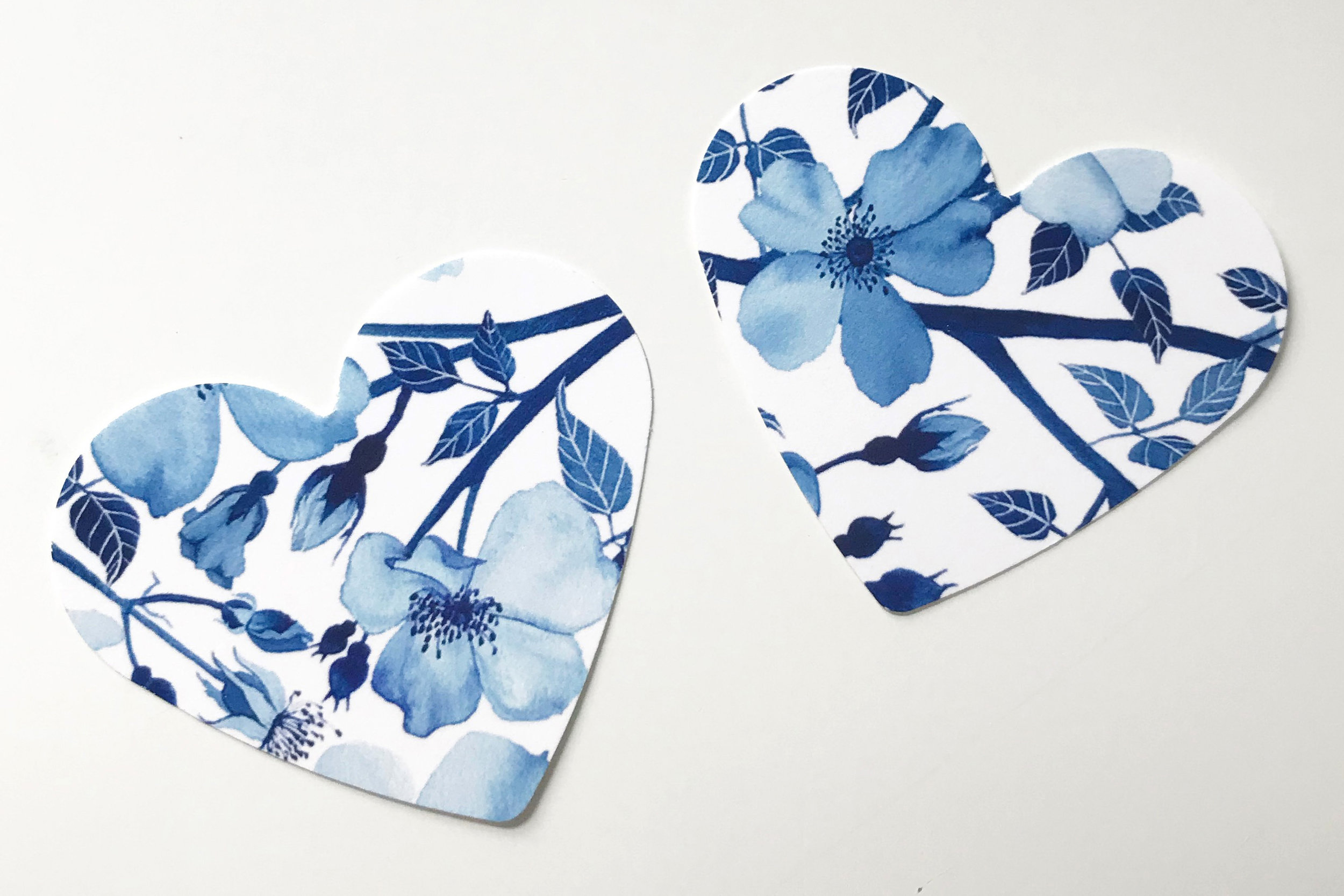 Hearts cut from my Watercolor Blue Roses Pattern