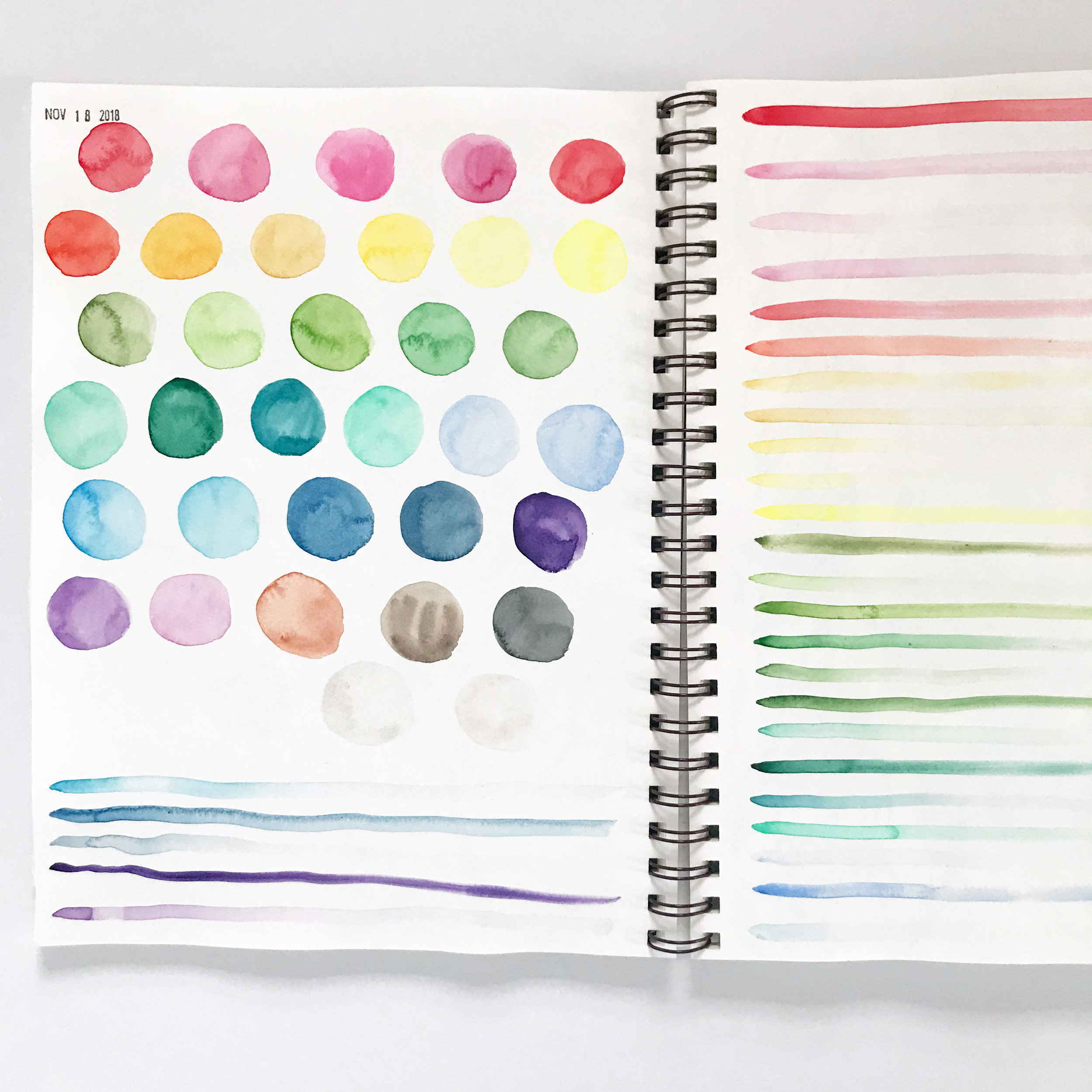 Swatching the Kuretake Watercolors in My Sketchbook is a  Good Way to Get to Know the Paints