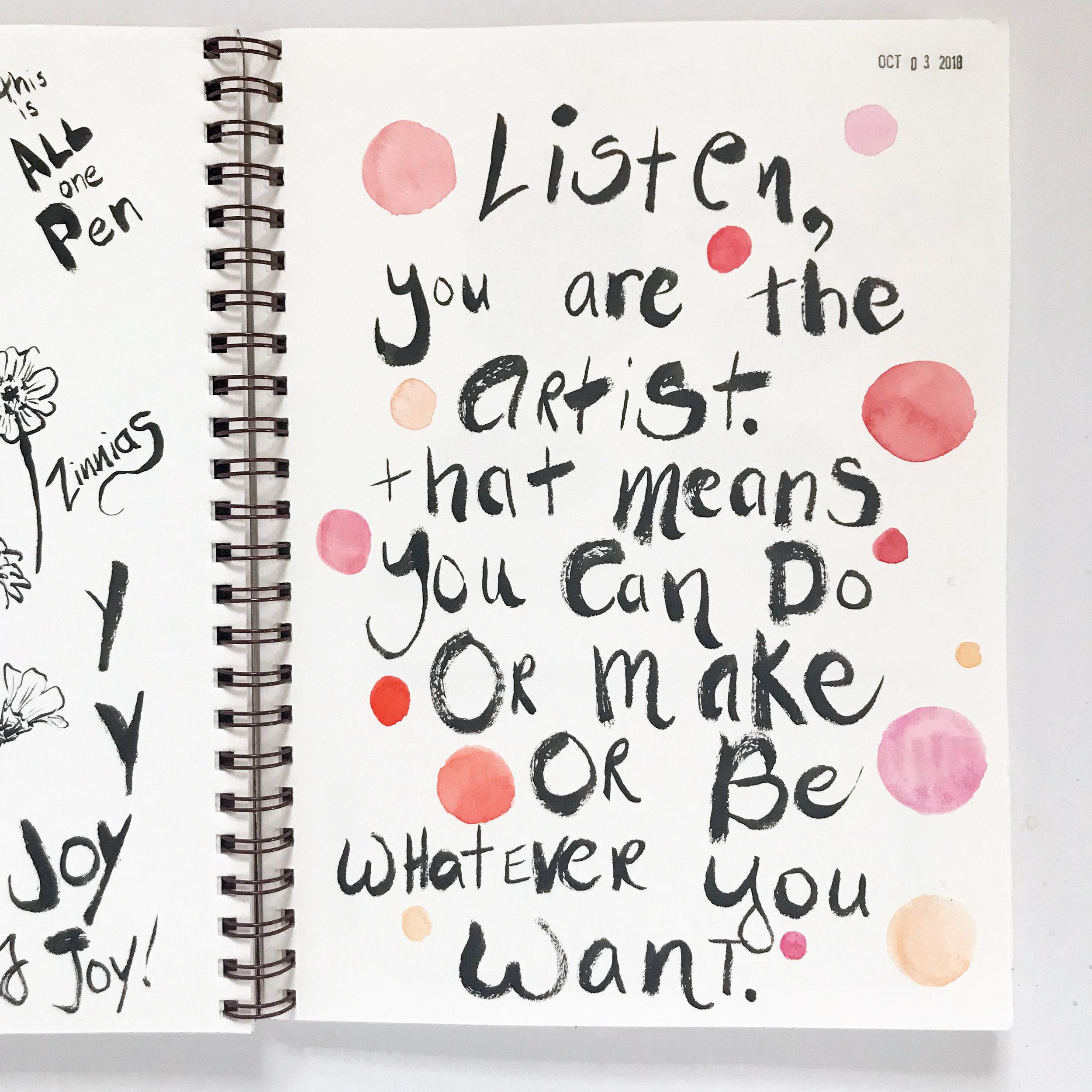 Pentel Pocket Brush Pen Artist Pep Talk in My Sketchbook