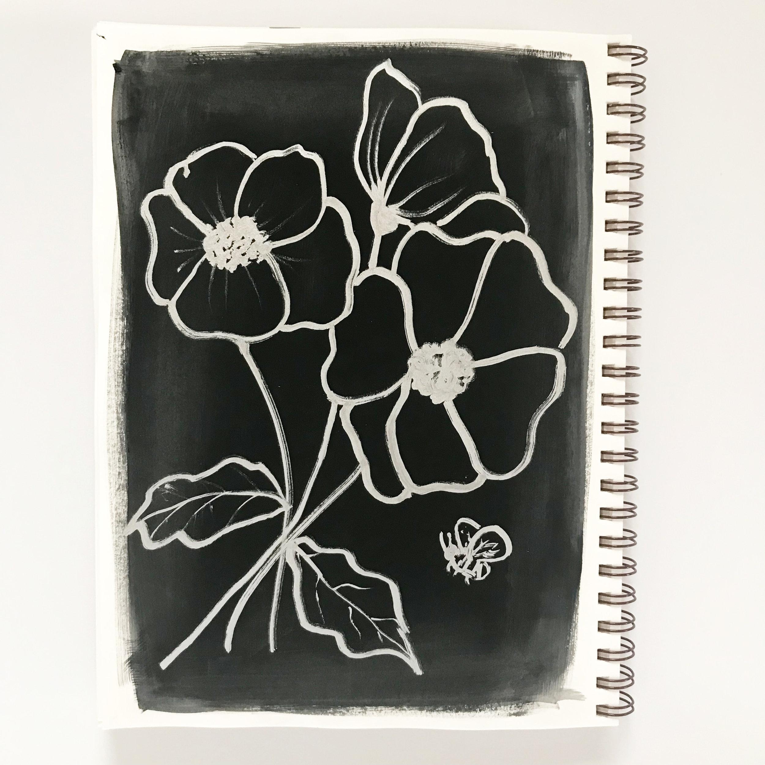 Krylon Silver Leafing Pen on Black Paint in My Sketchbook