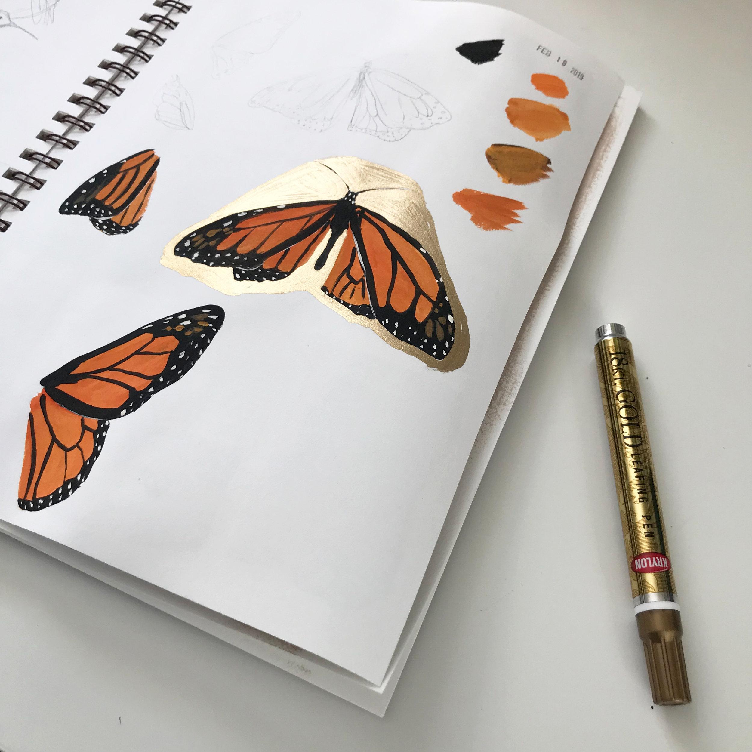 Gold Krylon Leafing Pen in My Sketchbook