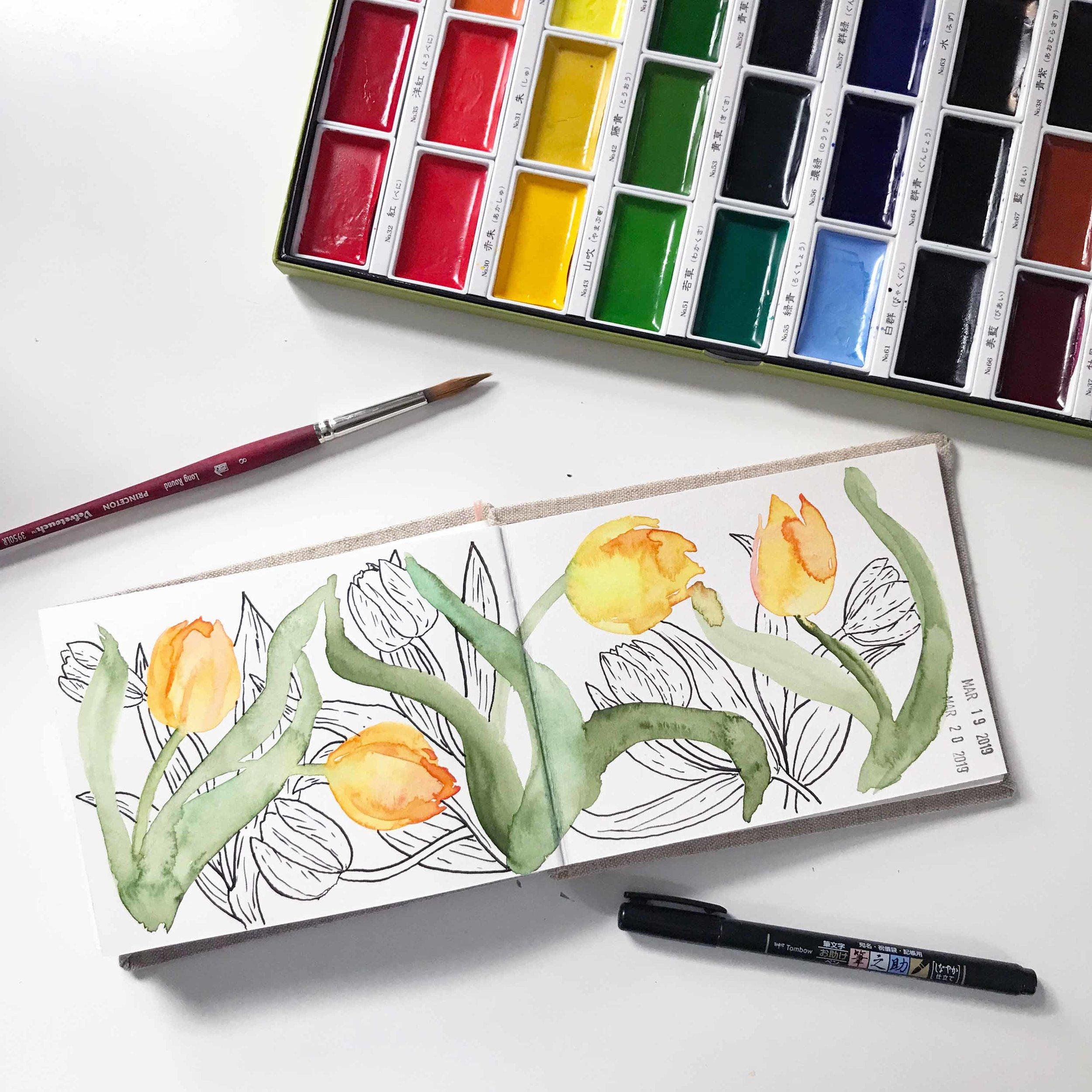 Using Kuretake Watercolors in My Sketchbook