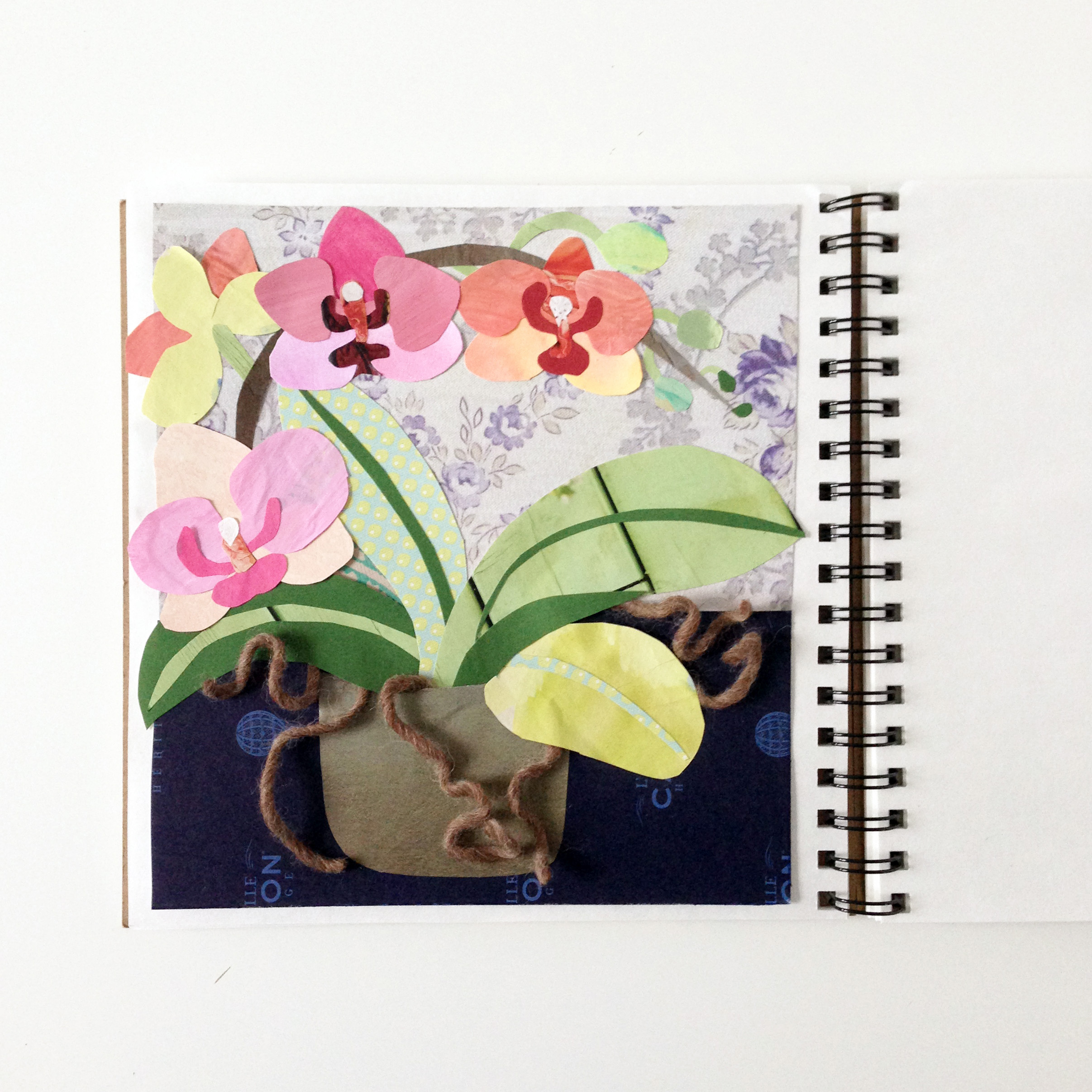 Orchid Collage in My Sketchbook