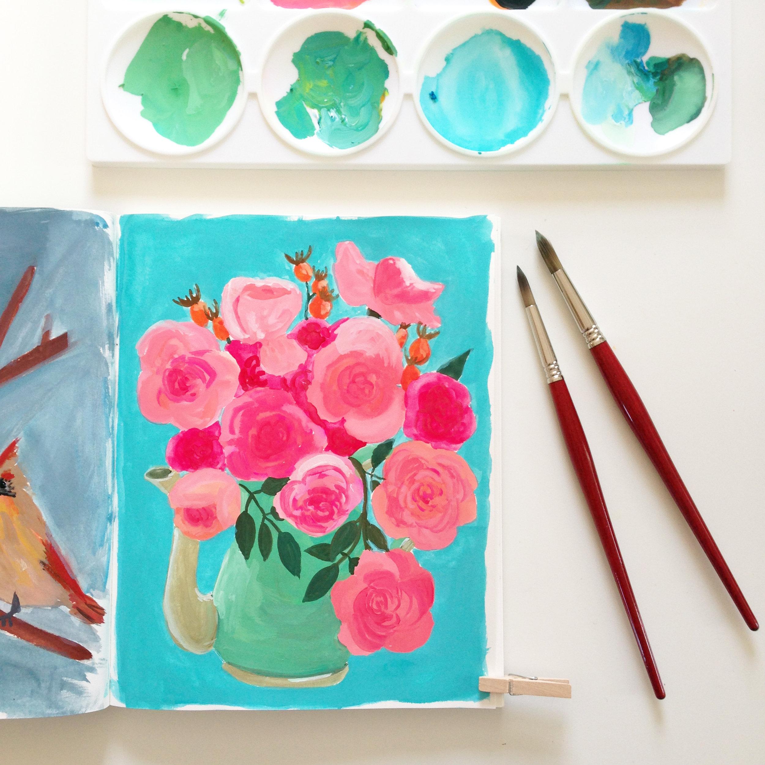 Gouache Roses in Anne Butera's Sketchbook
