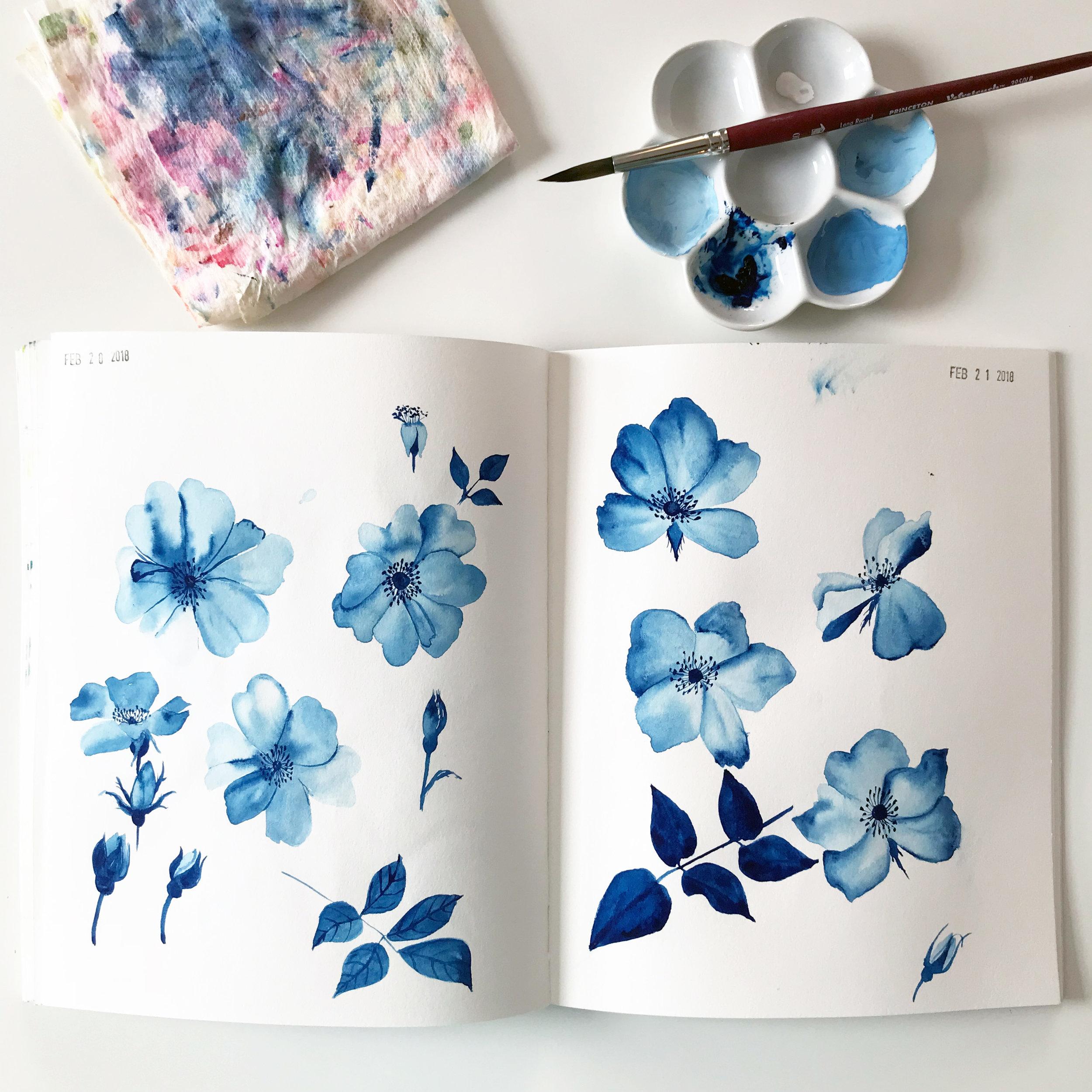 Prussian Blue Gouache Roses in Anne Butera's Sketchbook