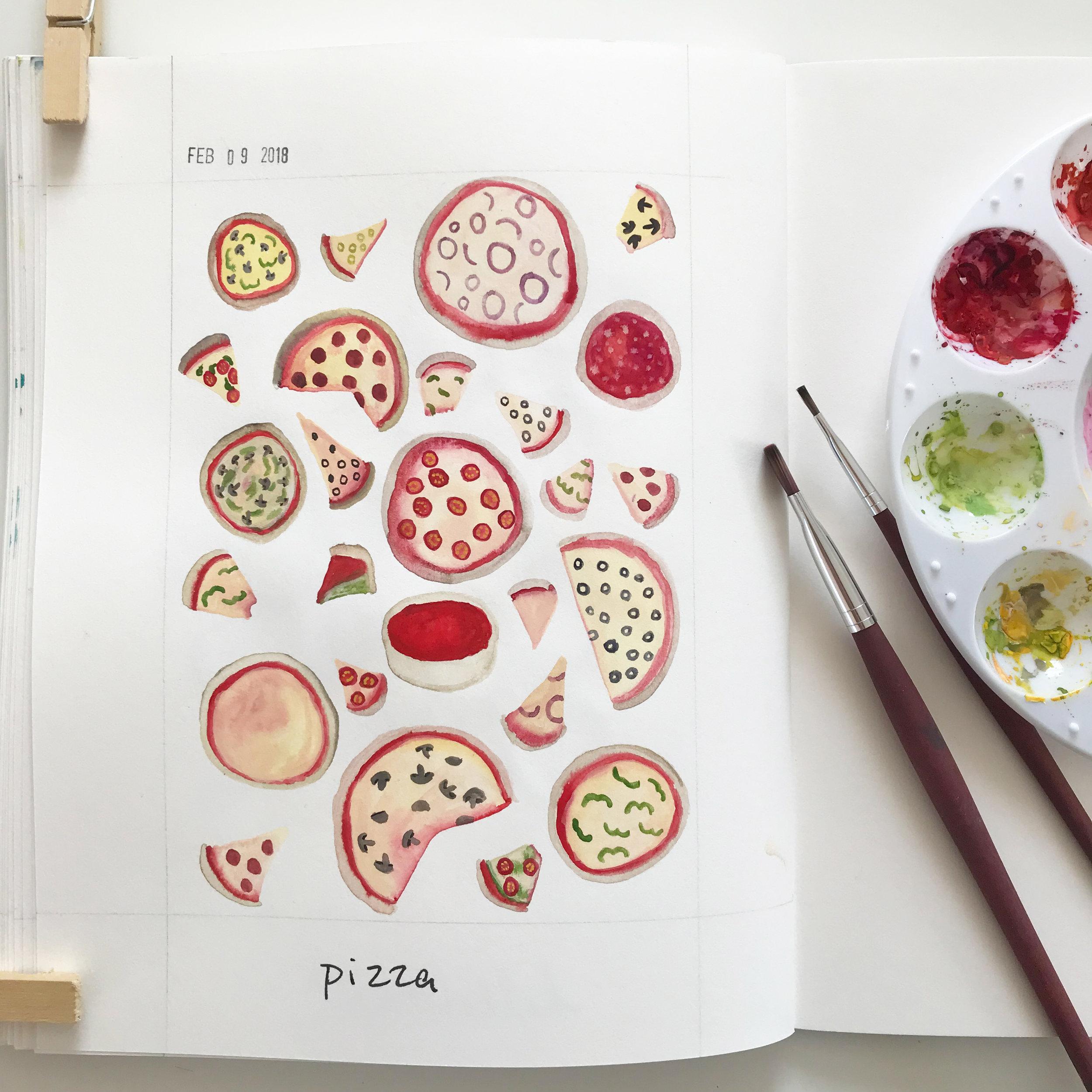 Gouache Pizza Sketches in Anne Butera's Sketchbook