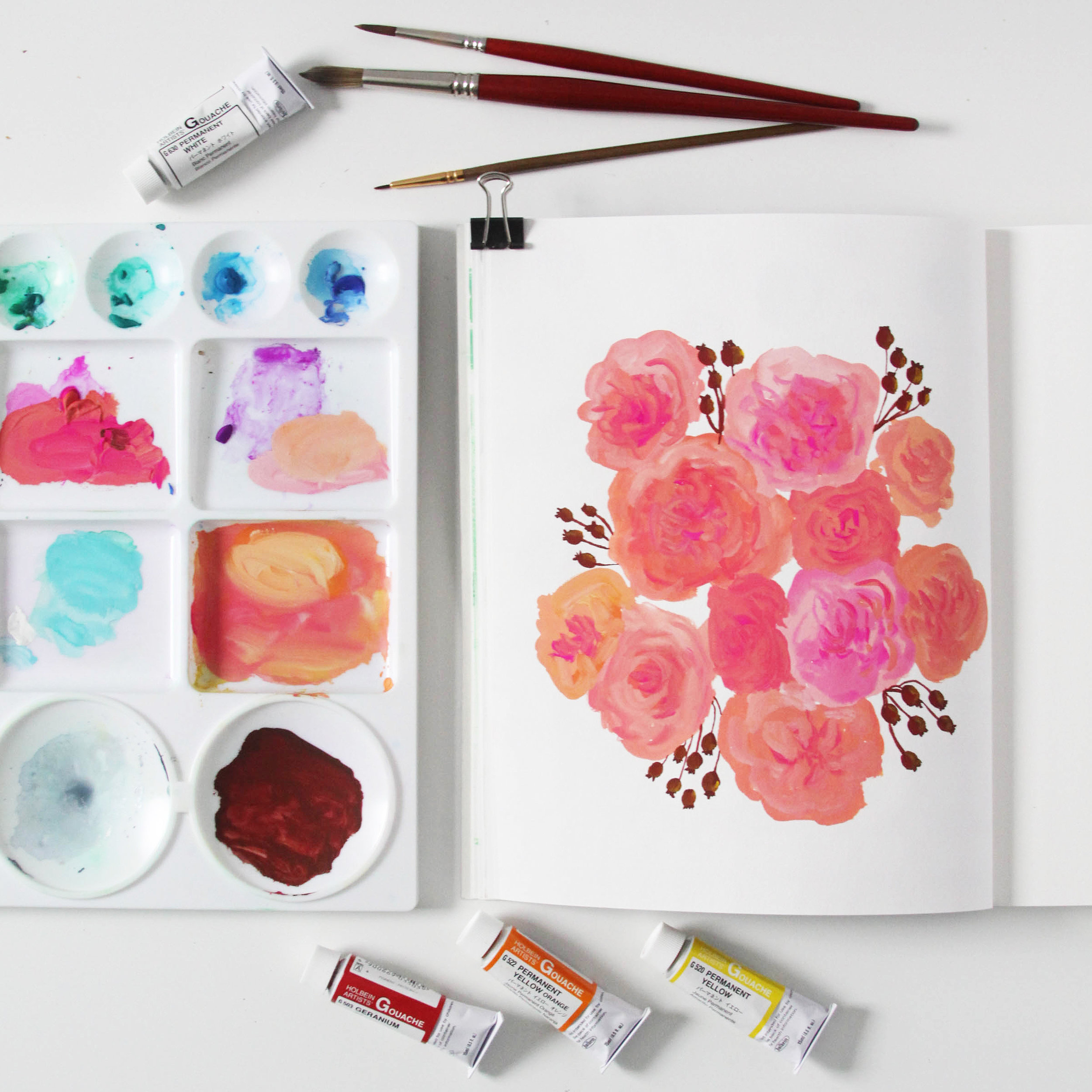 Roses in Gouache in Anne Butera's Sketchbook