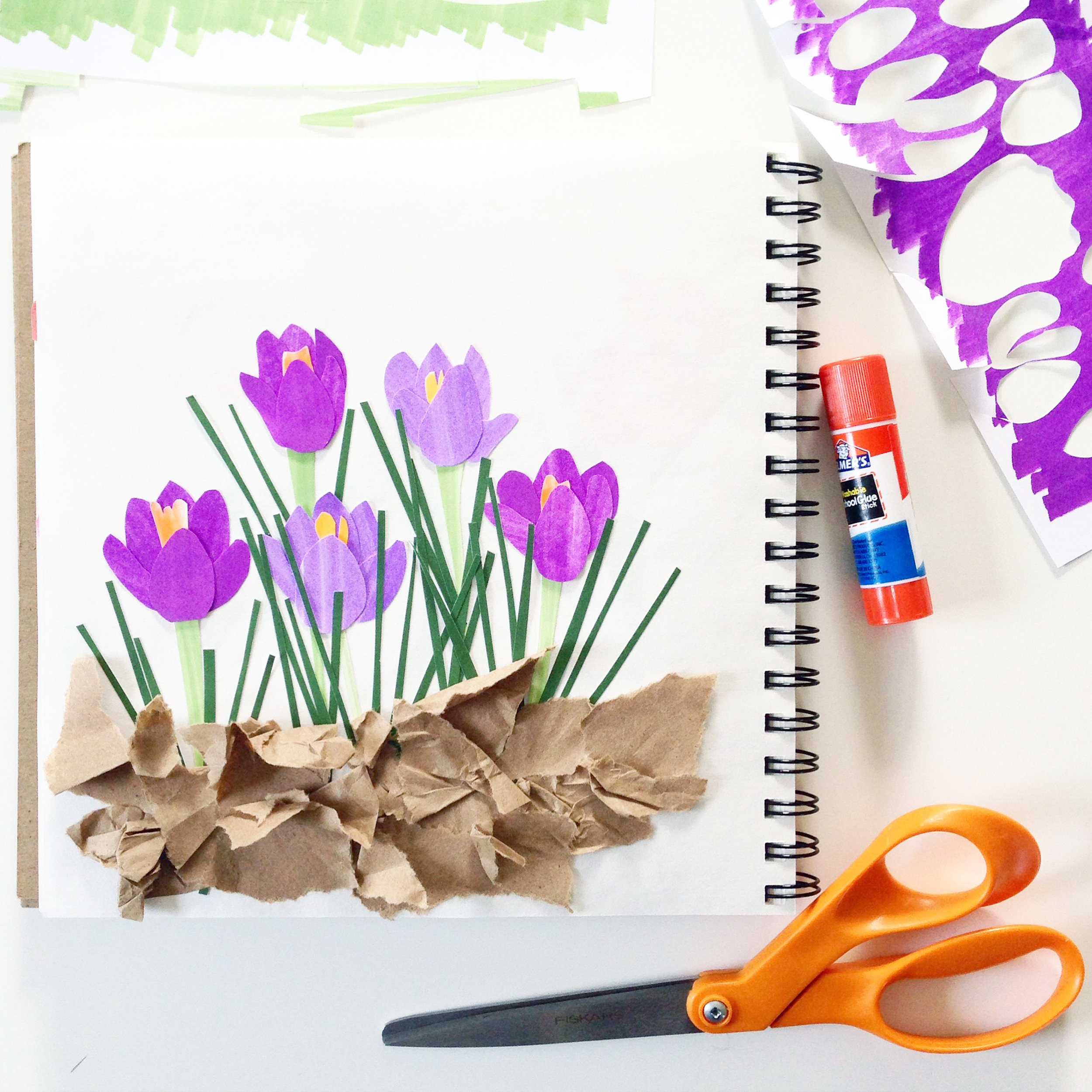 Collaged Crocuses in Anne Butera's Sketchbook shows that Sketchbooks aren't just for sketching