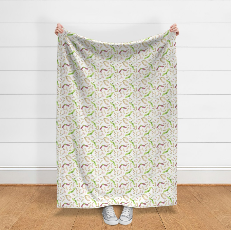 Photo from  Roostery of my Whirly Bird fabric as the LAKENVELDER THROW BLANKET