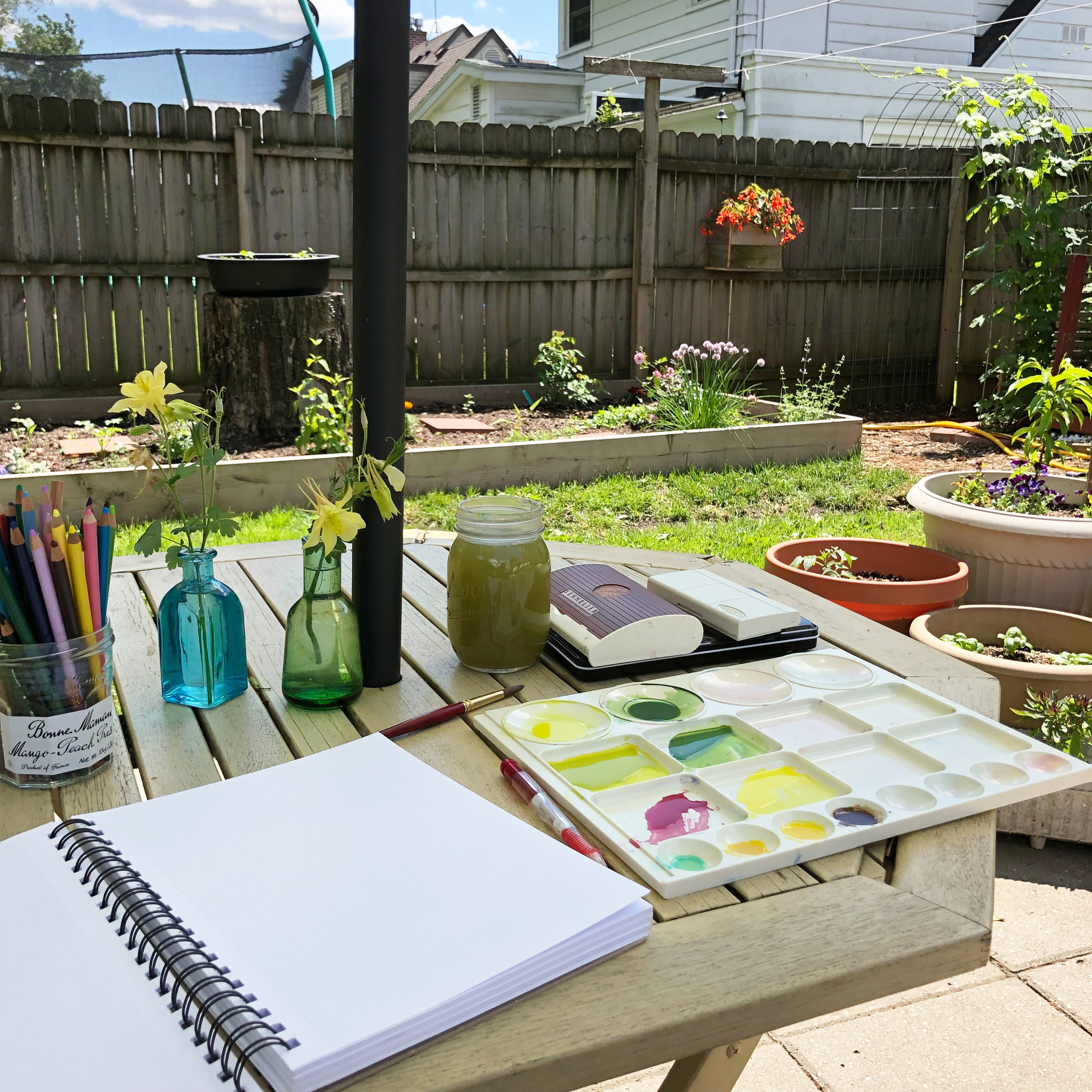 I Don't Usually Paint Outside, But I Have Been Extending My Studio to the Patio Table for Mixing Paint and Sketching