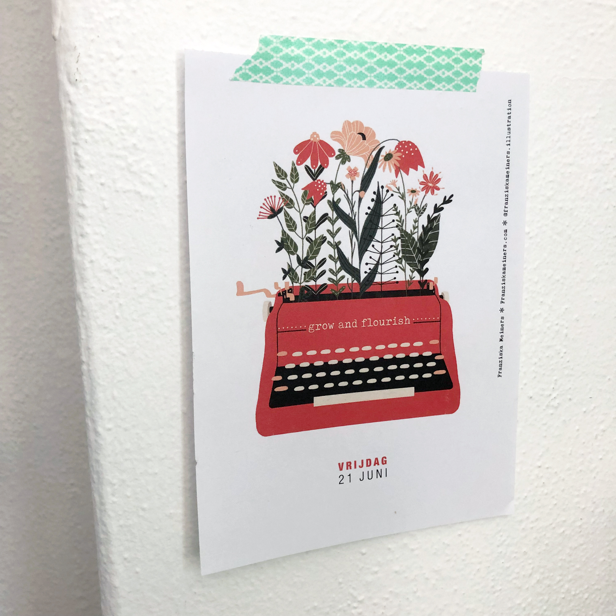 Grow and Flourish Typewriter Illustration by Franziska Meiners for the Flow  2019 Tear Off Calendar