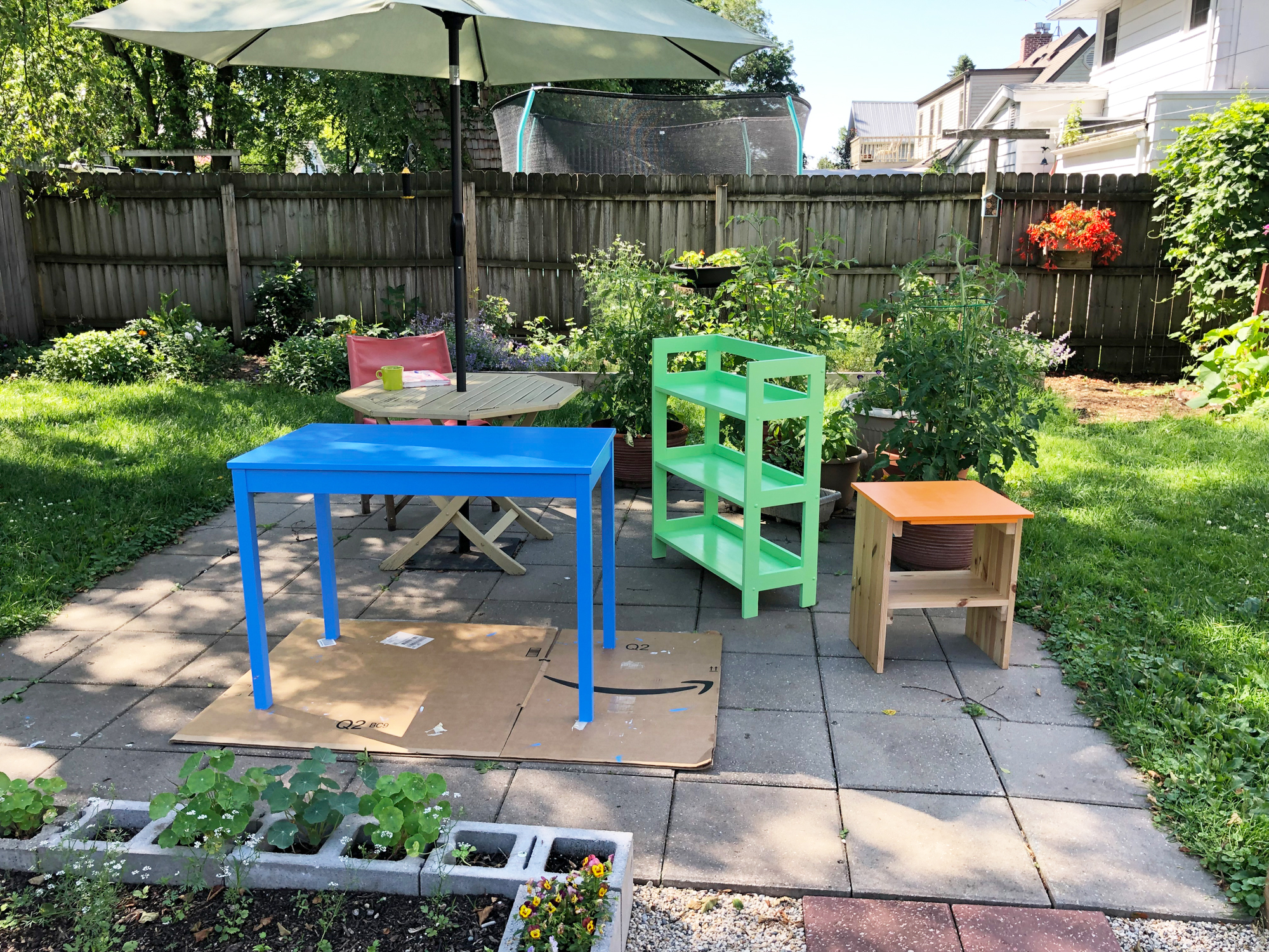 Painting furniture on the patio in my garden