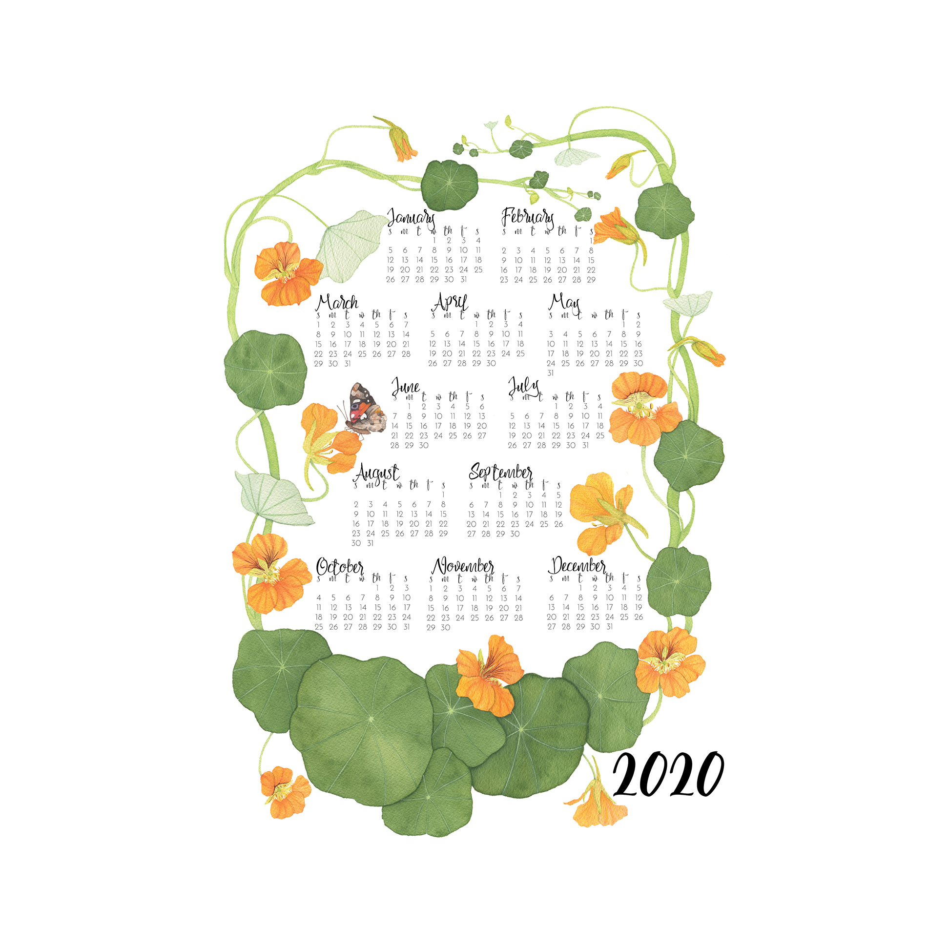 2020 Nasturtiums Tea Towel Calendar by Anne Butera
