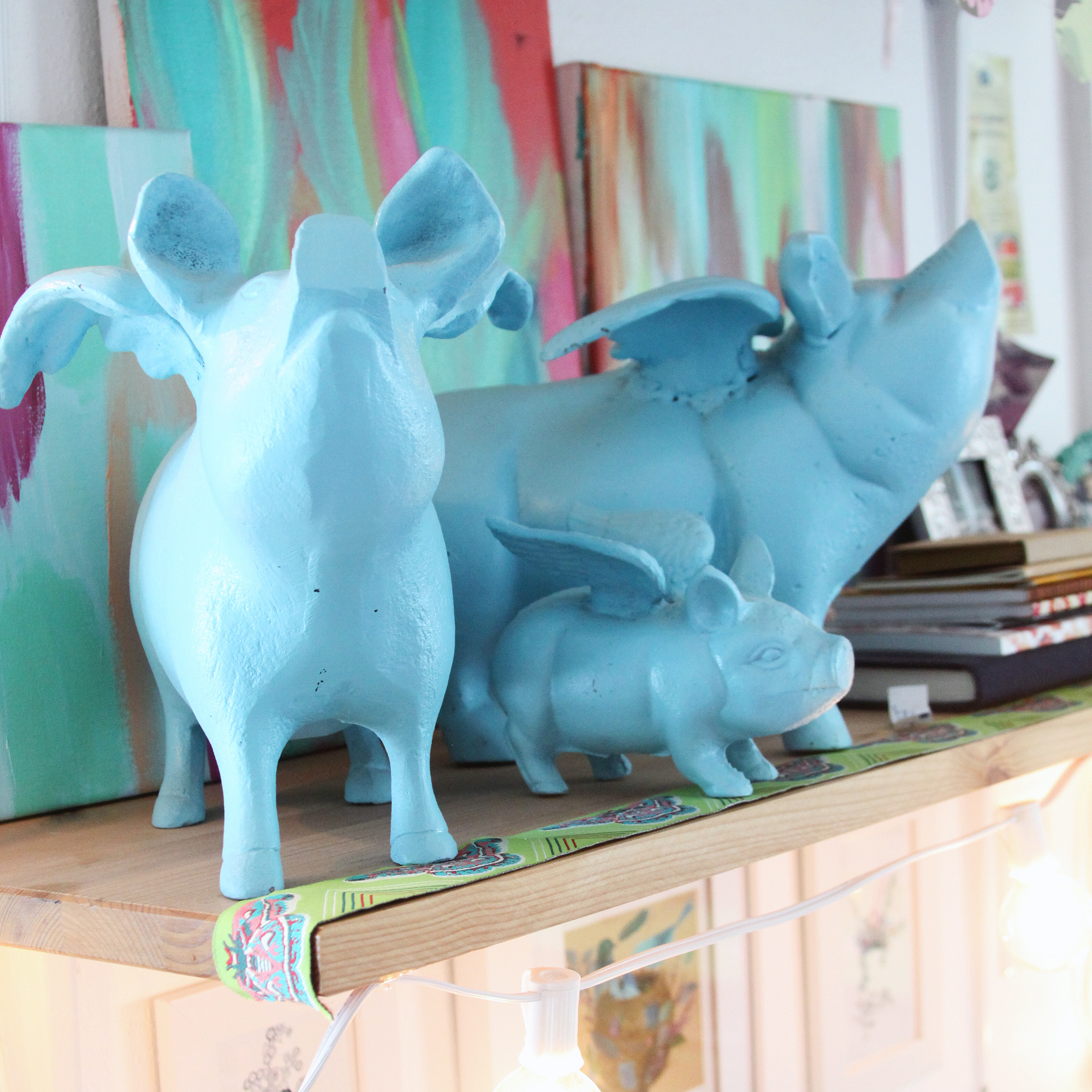 Flying pigs bring me joy in my studio