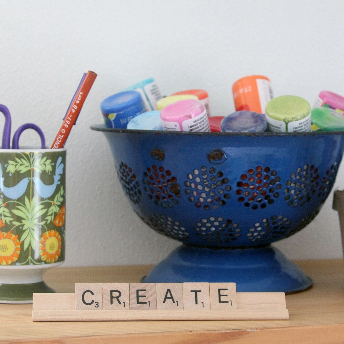 %22Create%22%3A+a+message+with+Scrabble+tiles+on+a+shelf+in+my+studio