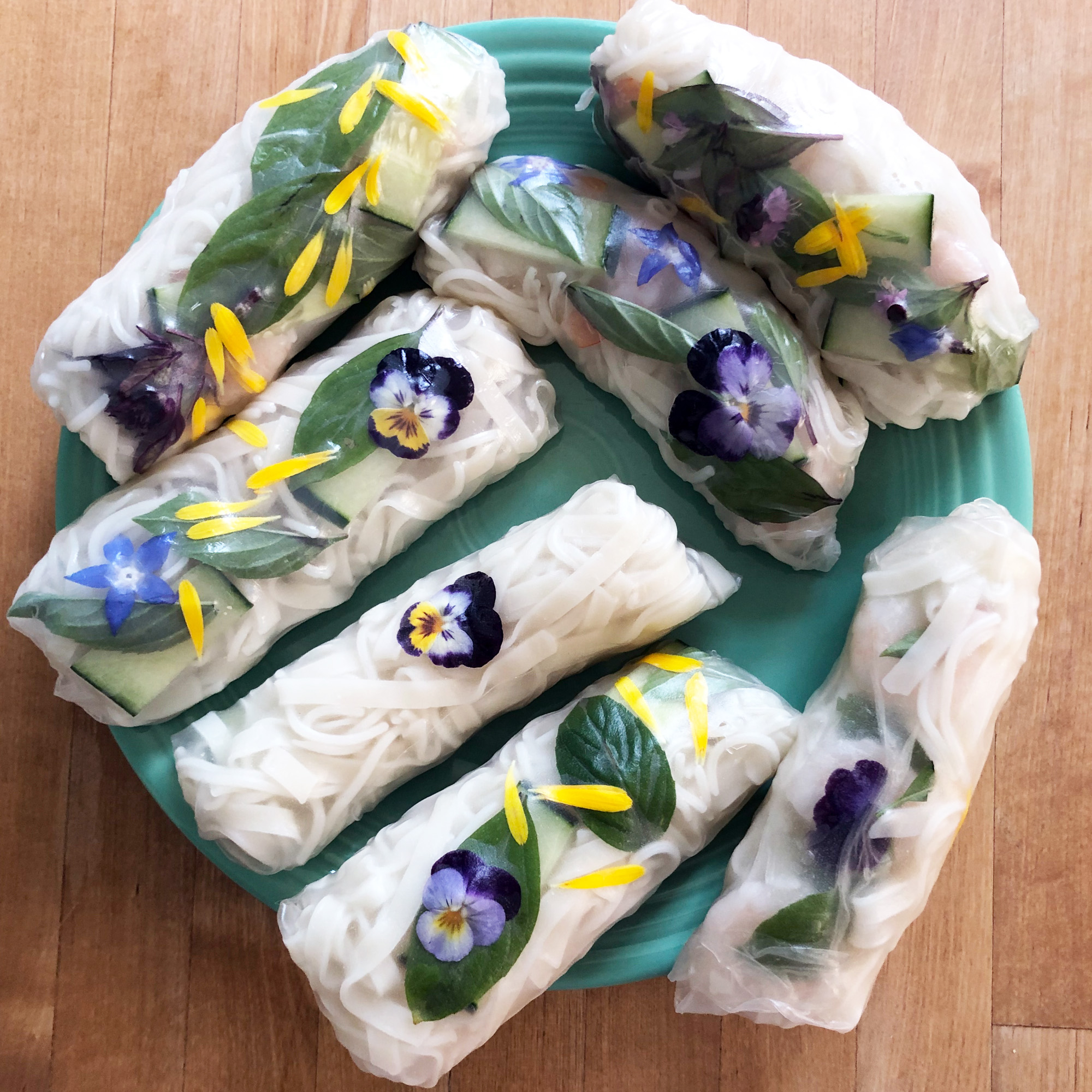 Violas are edible and fun to use in food like these spring rolls