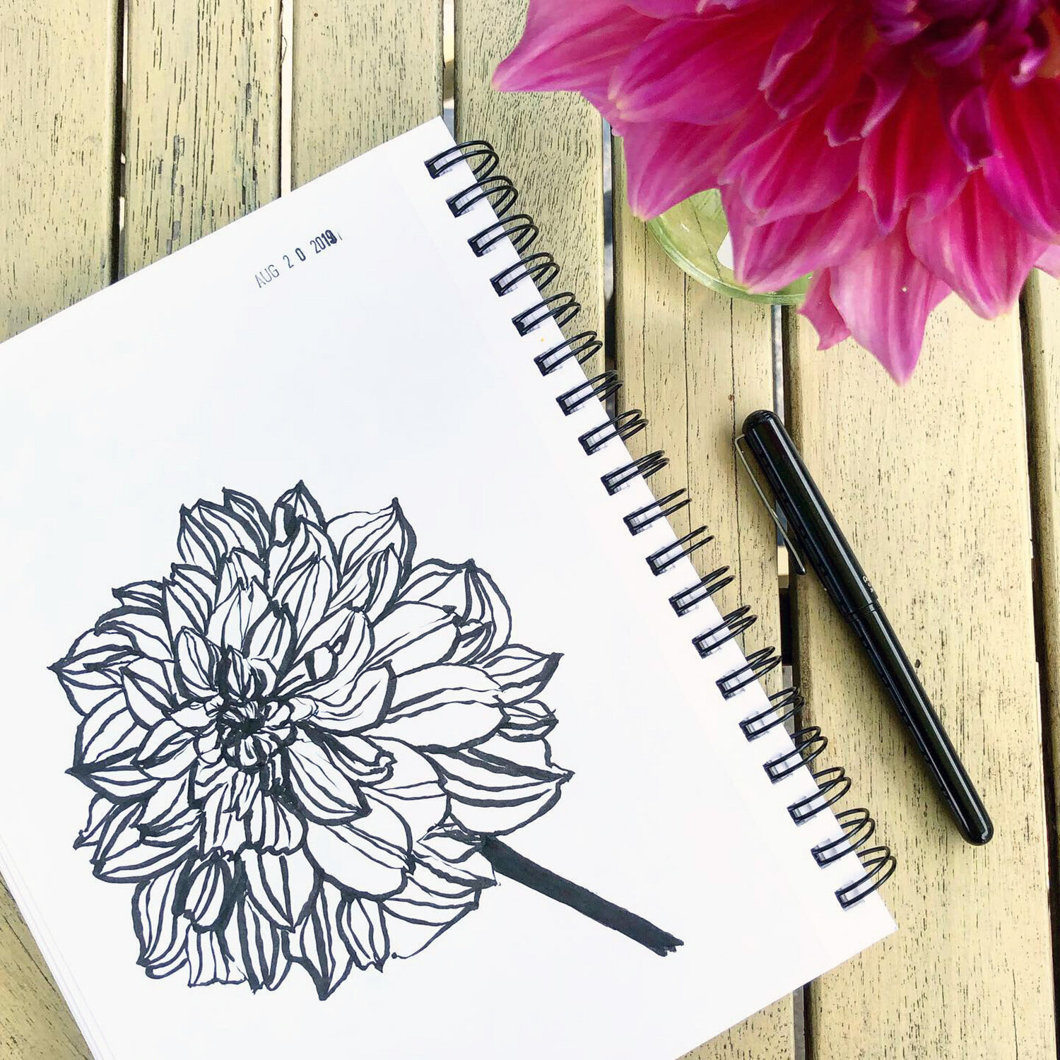 Sketching Otto's Thrill Dahlia with a Brush Pen