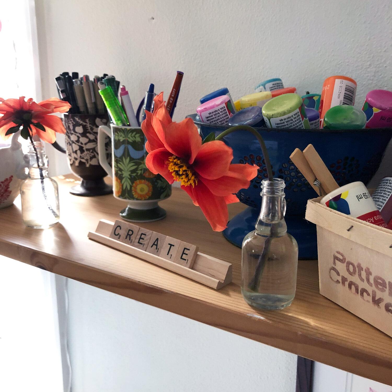 Delicate Bishop's Children Dahlia flowers in my studio