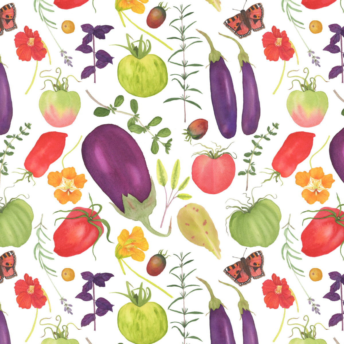 Watercolor Kitchen Garden Fabric Design by Anne Butera features tomatoes, herbs, flowers and is available on Spoonflower