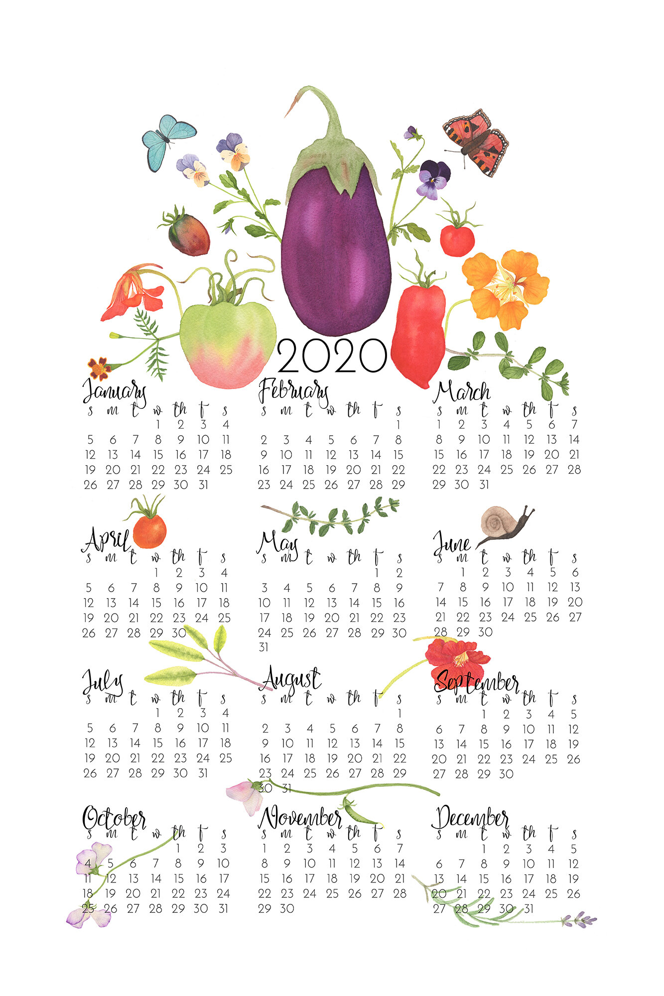 Anne Butera's Kitchen Garden Tea Towel Calendar for 2020 is available on Spoonflower