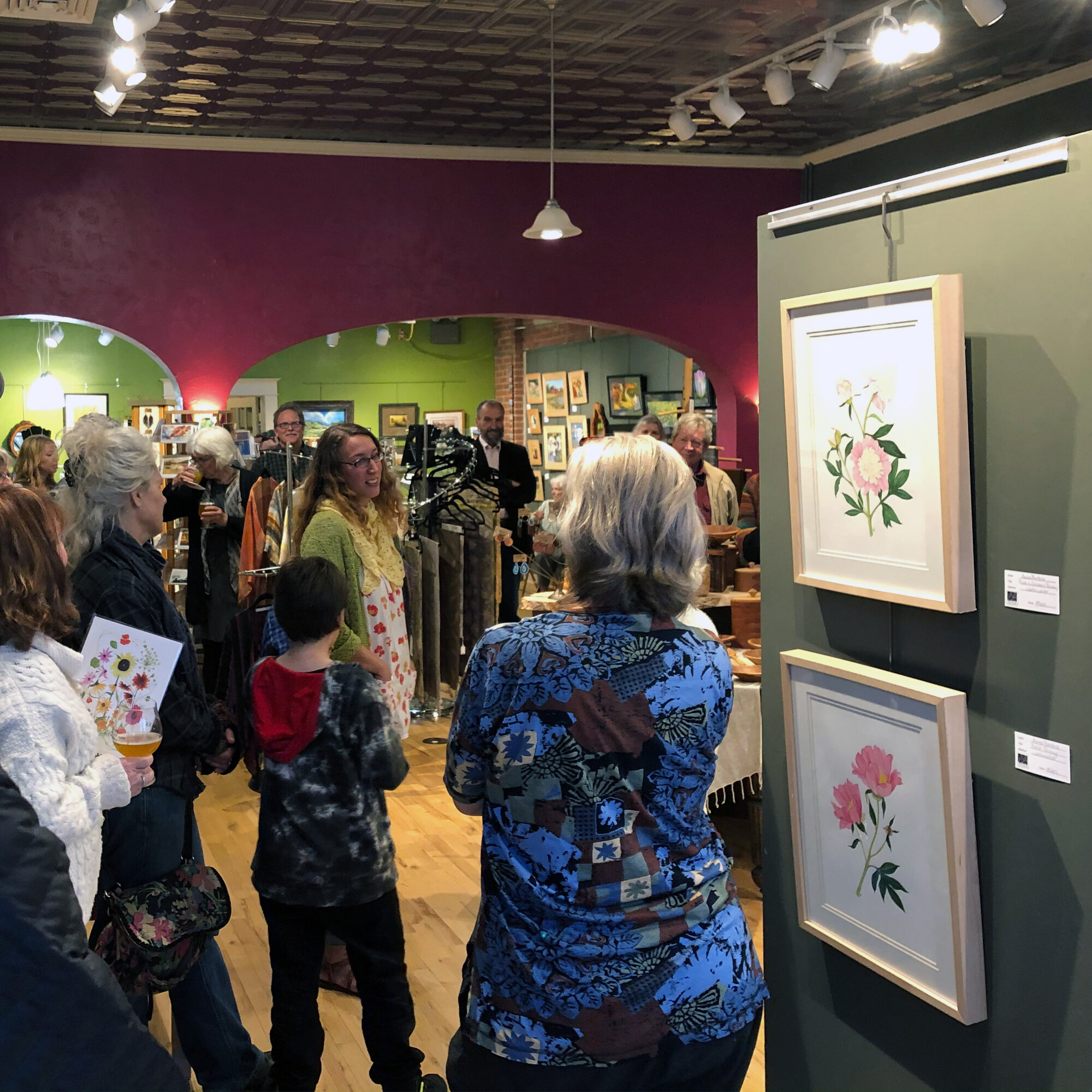 Anne Butera Speaking About Her Art at the Opening Reception of Her Show at Viva Gallery in Viroqua Wisconsin