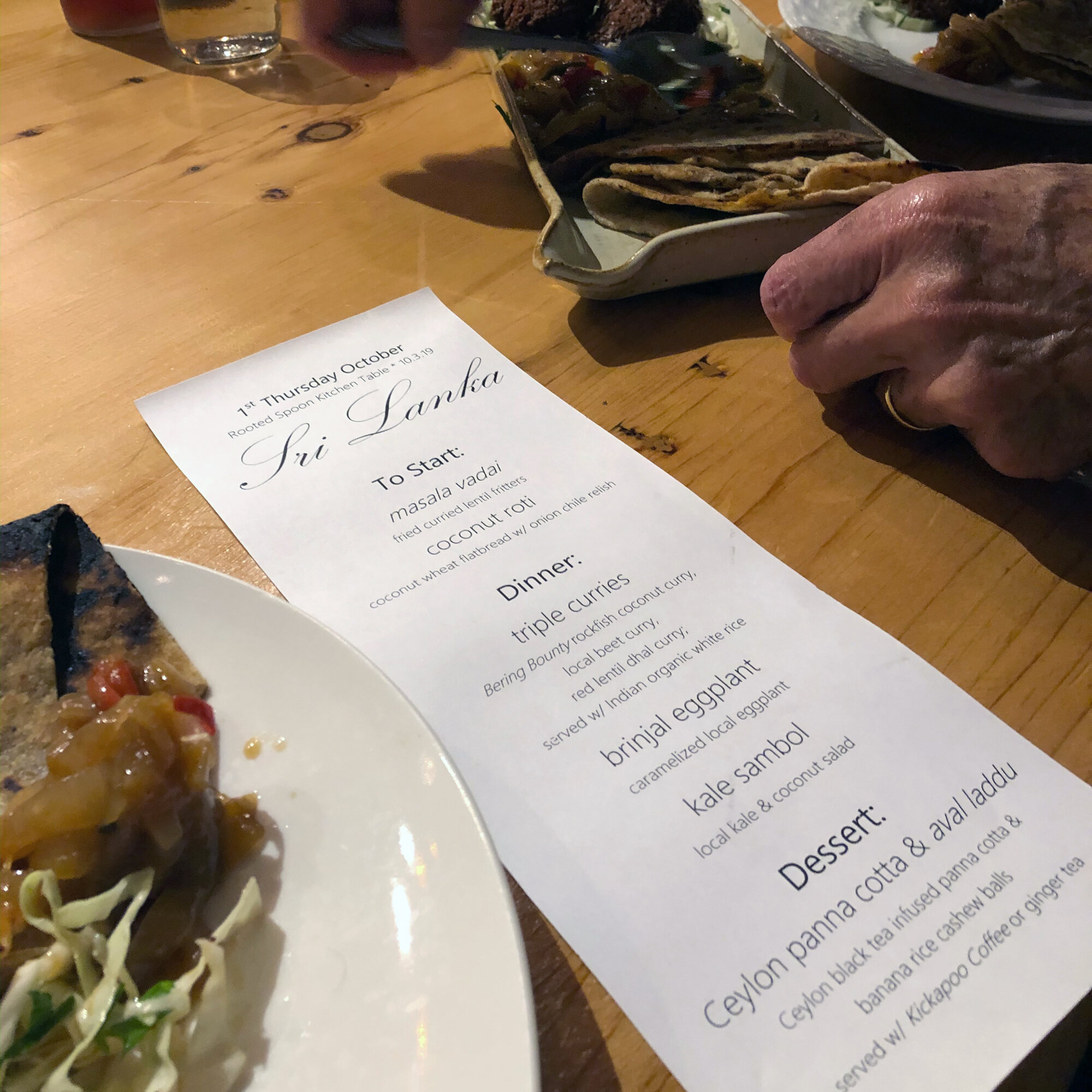 The Menu at the Rooted Spoon Kitchen Table for the Opening Reception for Viva Gallery in Viroqua Wisconsin