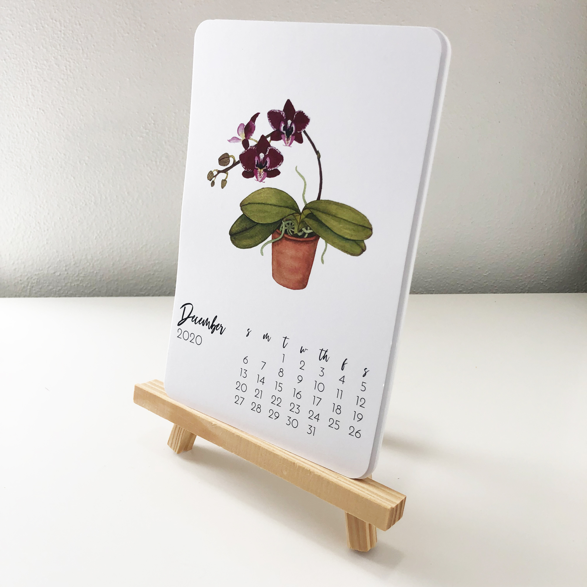 2020 Botanical Watercolor Desk Calendars by Anne Butera Are Also Available With Rounded Corners