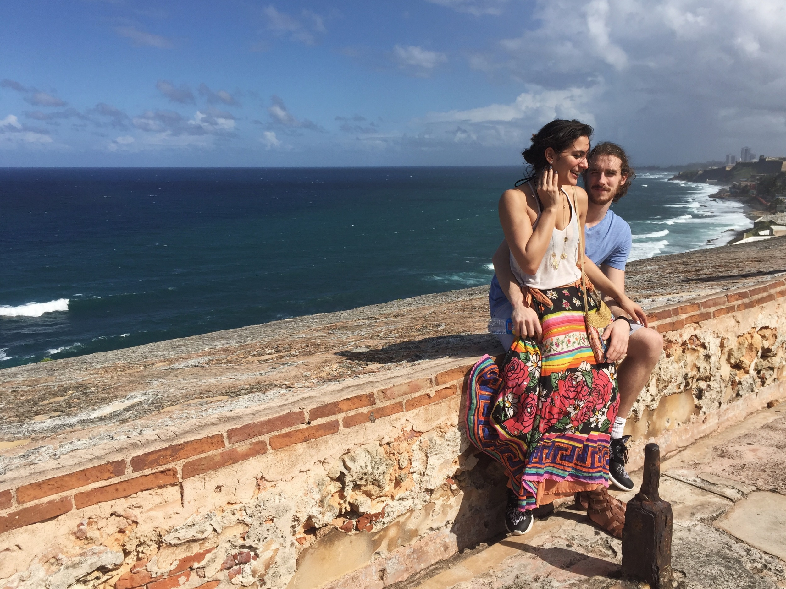 Aren't we adorable? The wind was all over the place at  El Morro  and this is the only decent picture we took where I wasn't aggressively fighting off my flyaways.
