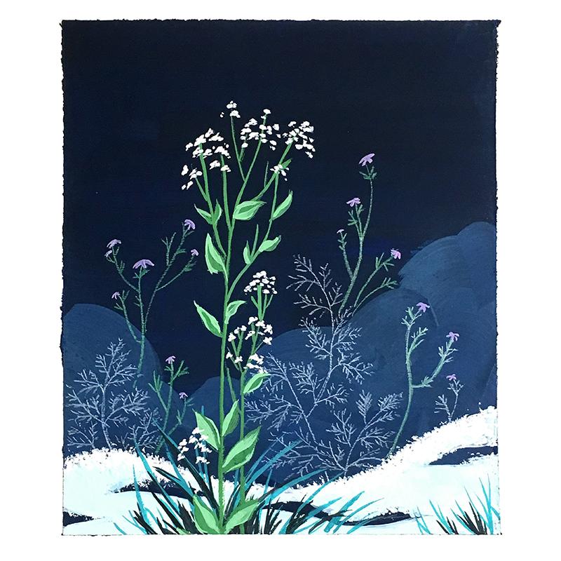 "Snow Weeds II  Gouache on Hot Press Paper 4x4.75"", 2016 SOLD"