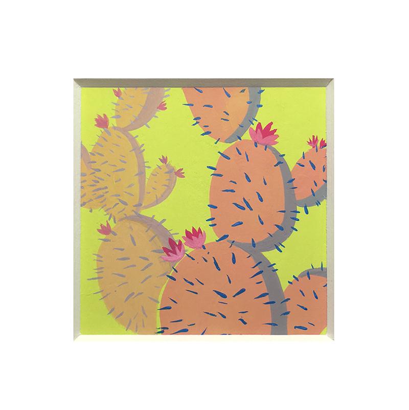 "Neon Cactus  Gouache on Hot Press Paper 2.5x2.5"", 2016. SOLD"