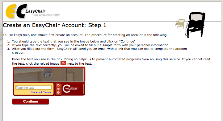 Step 1 for creating a new EasyChair account