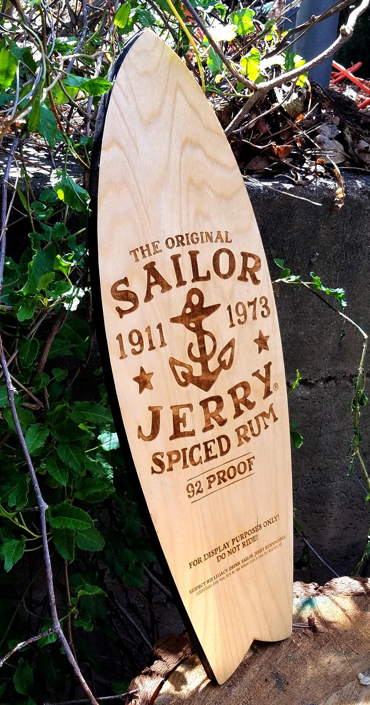 Sailor Jerry Wooden Surfboard