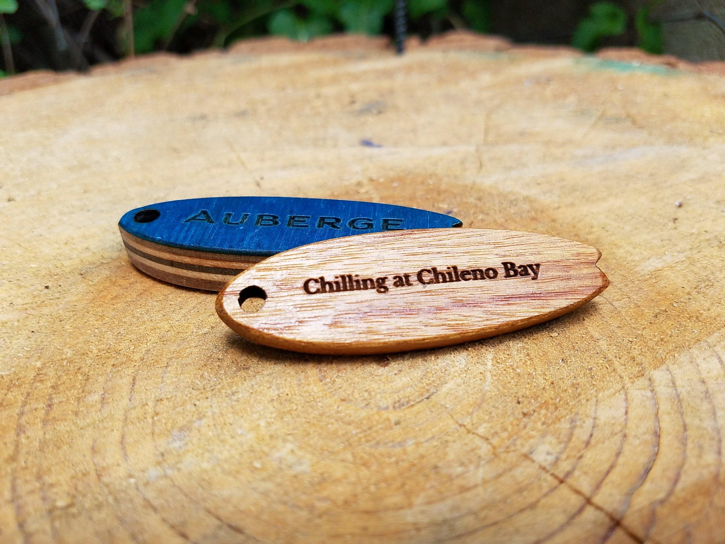 Wooden Surfboard Keychains