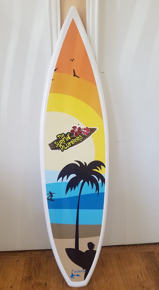 The Surfin' Plumbers Surfboard