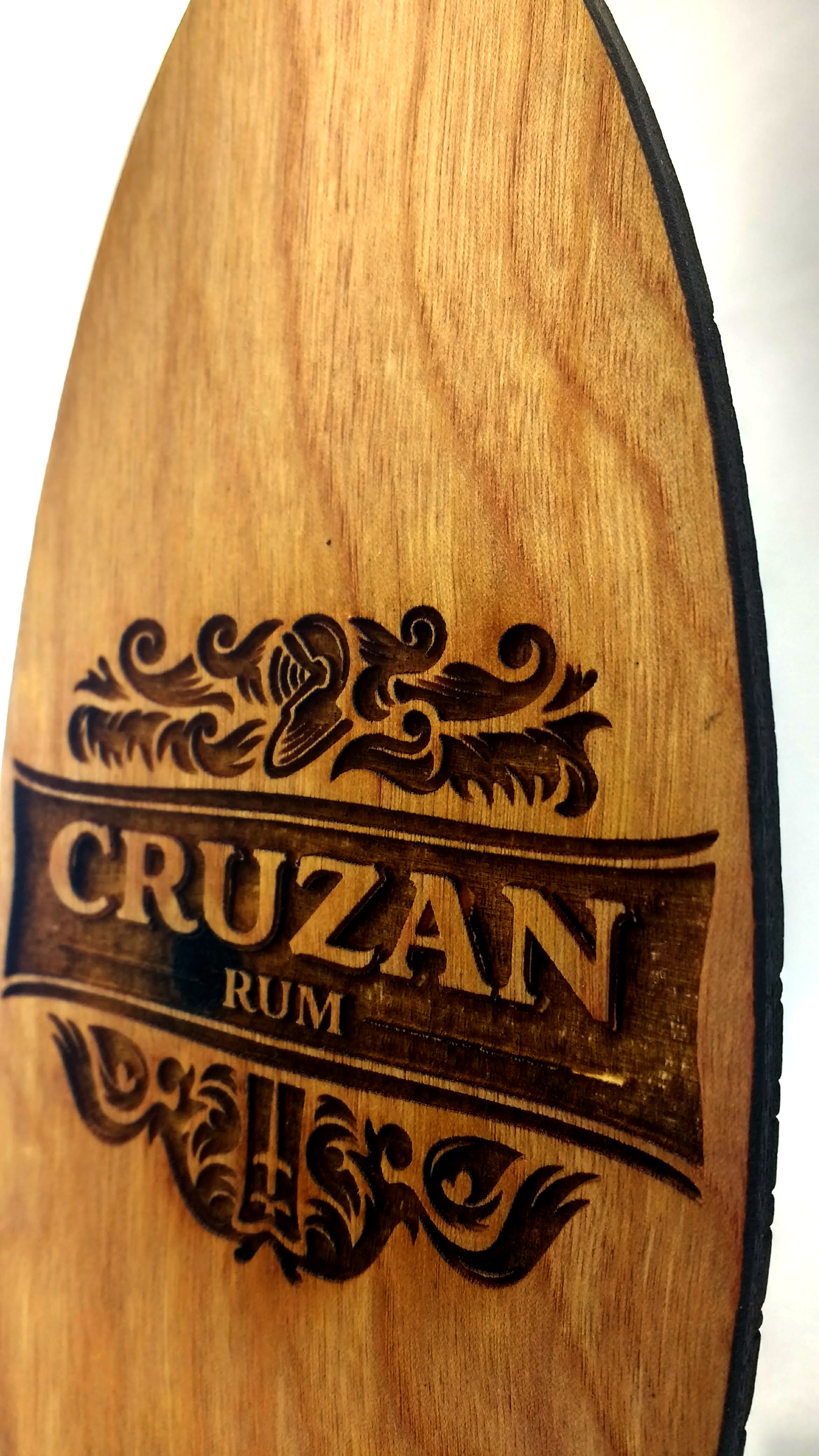 Closeup of Cruzan Rum Surfboard