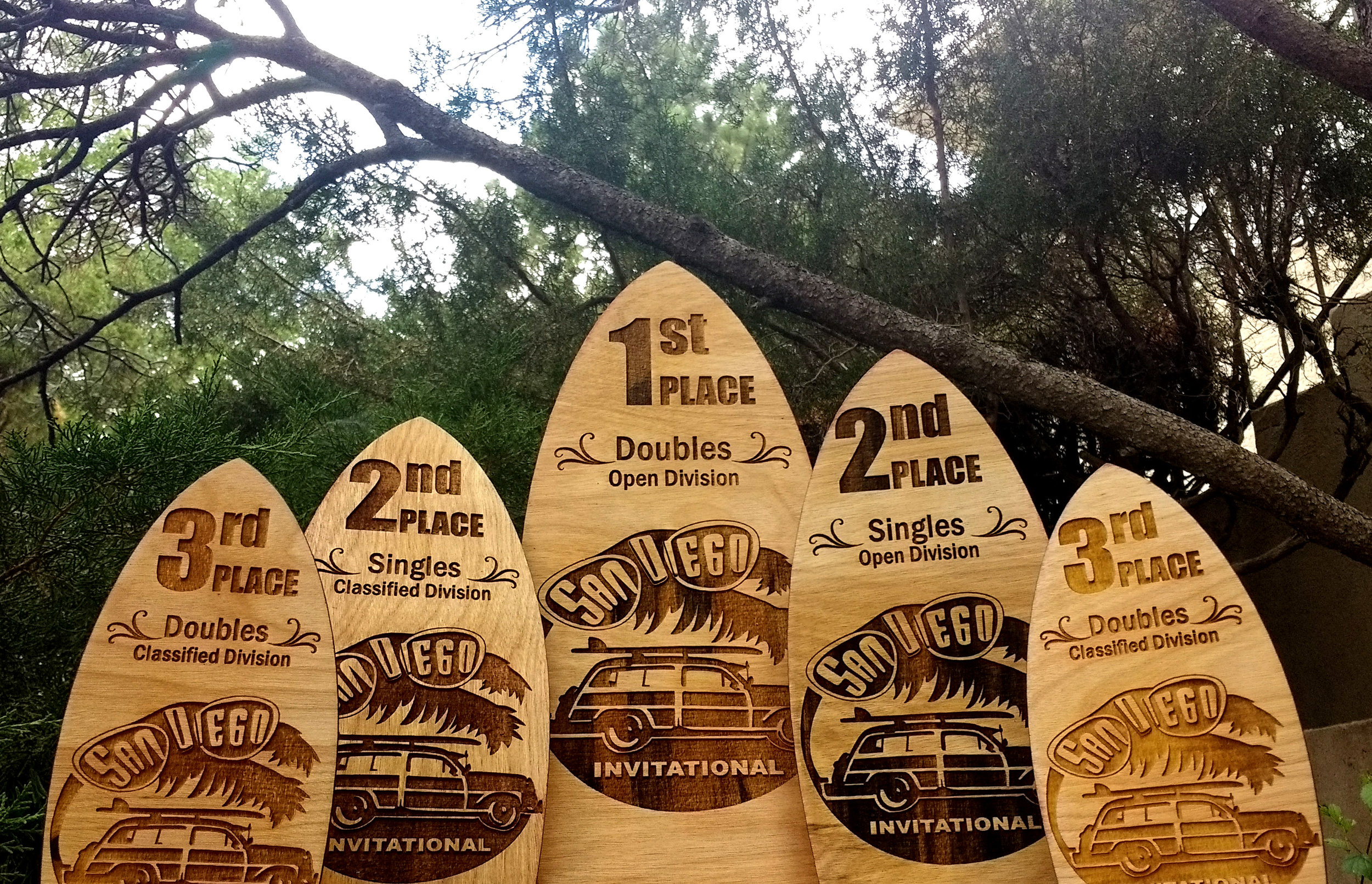 Wooden Surfboard Trophies