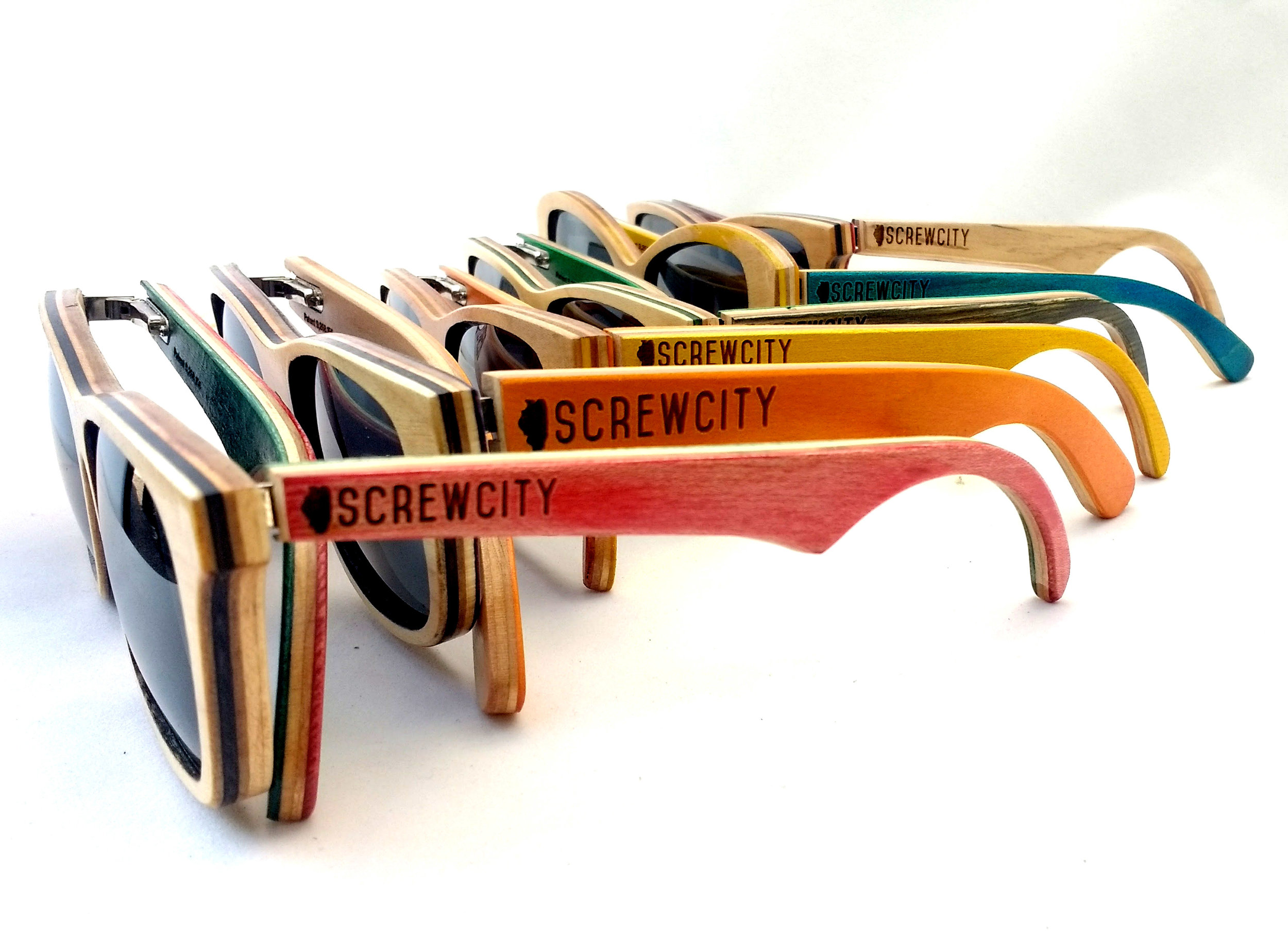 Rainbow of Screw City SK8Glasses™ with logos