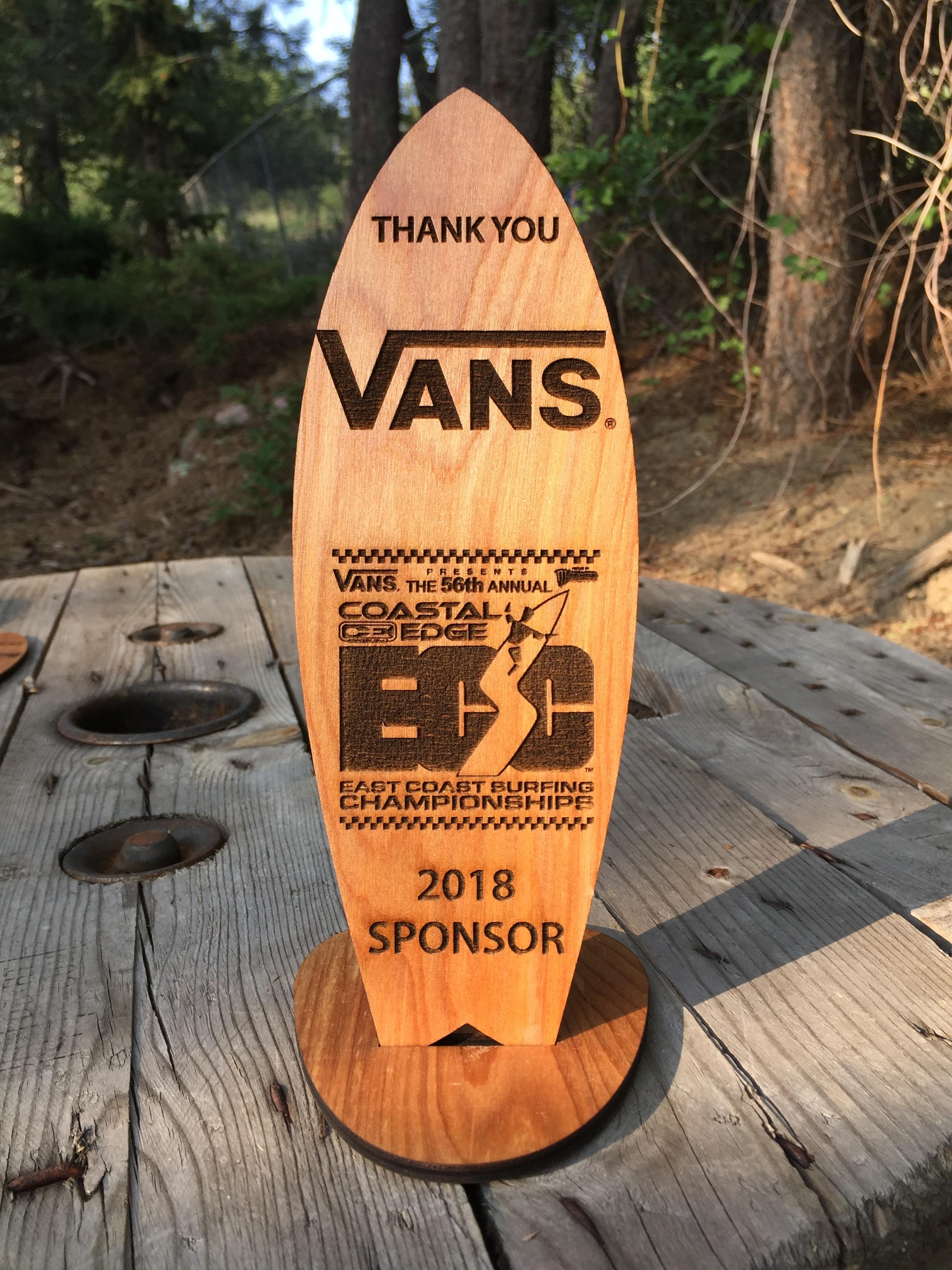 Wooden Surfboard Trophy
