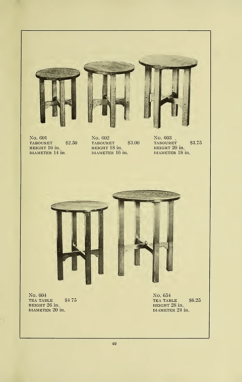 Page 49 of the  Gustav Stickley 1909 Catalogue of Craftsman Furniture