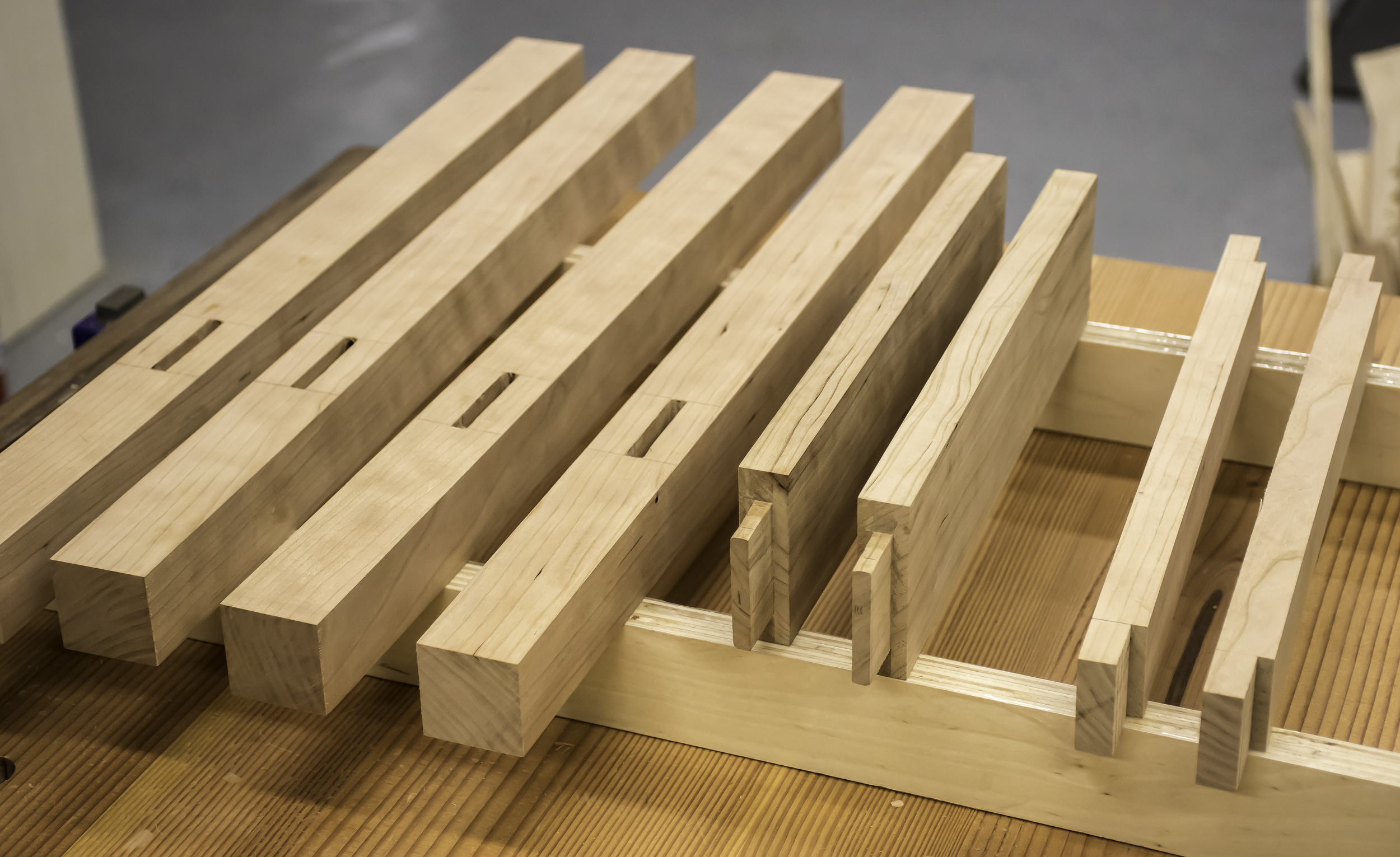 Mortise-and-tenon joints are done.  Notice that the shoulders are cut on the upper stretchers, as well.