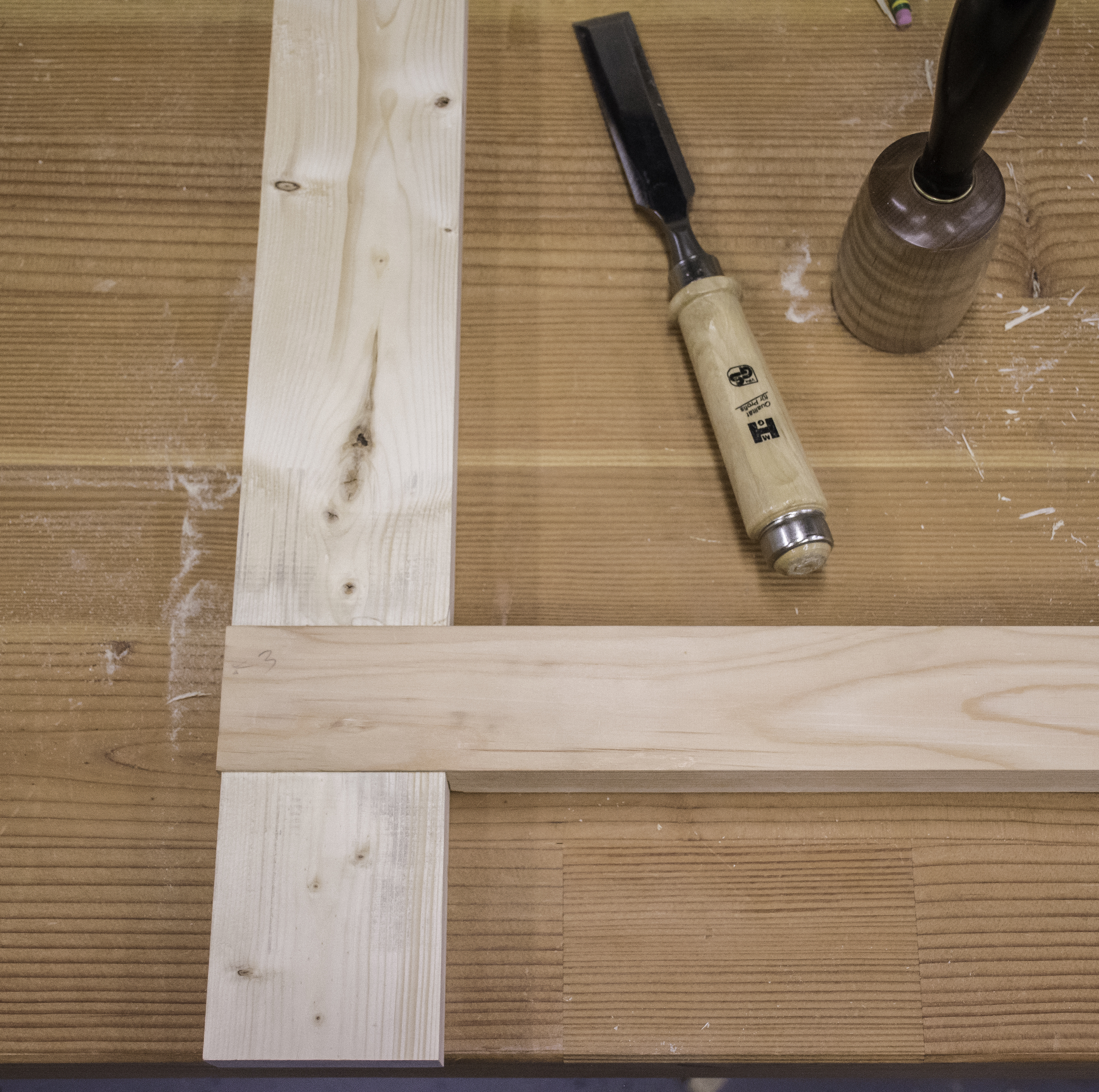 The sawbench is an exercise in half lap joints, which are easy and fun to cut with hand tools.