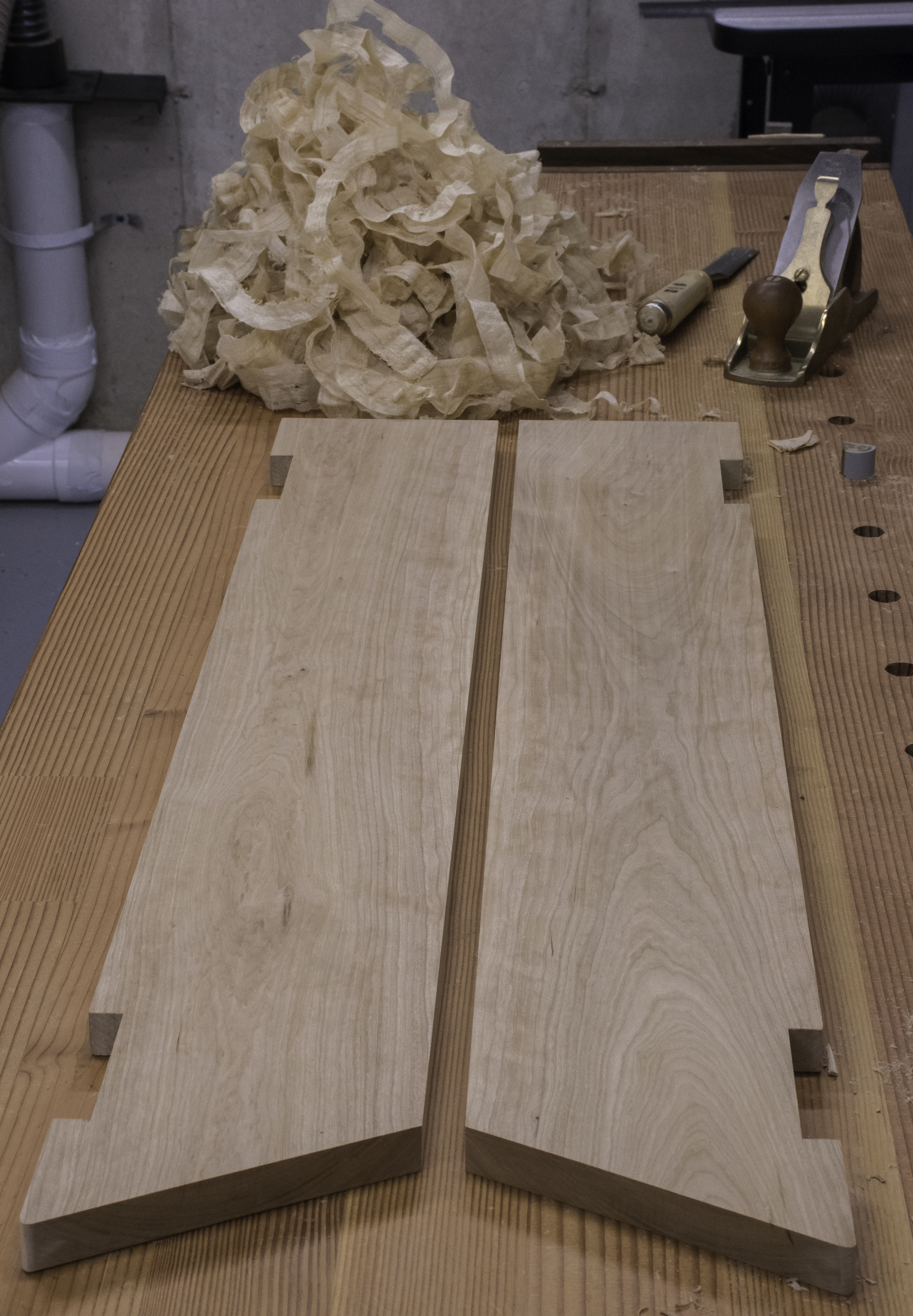 The top boards ready for glue-up.