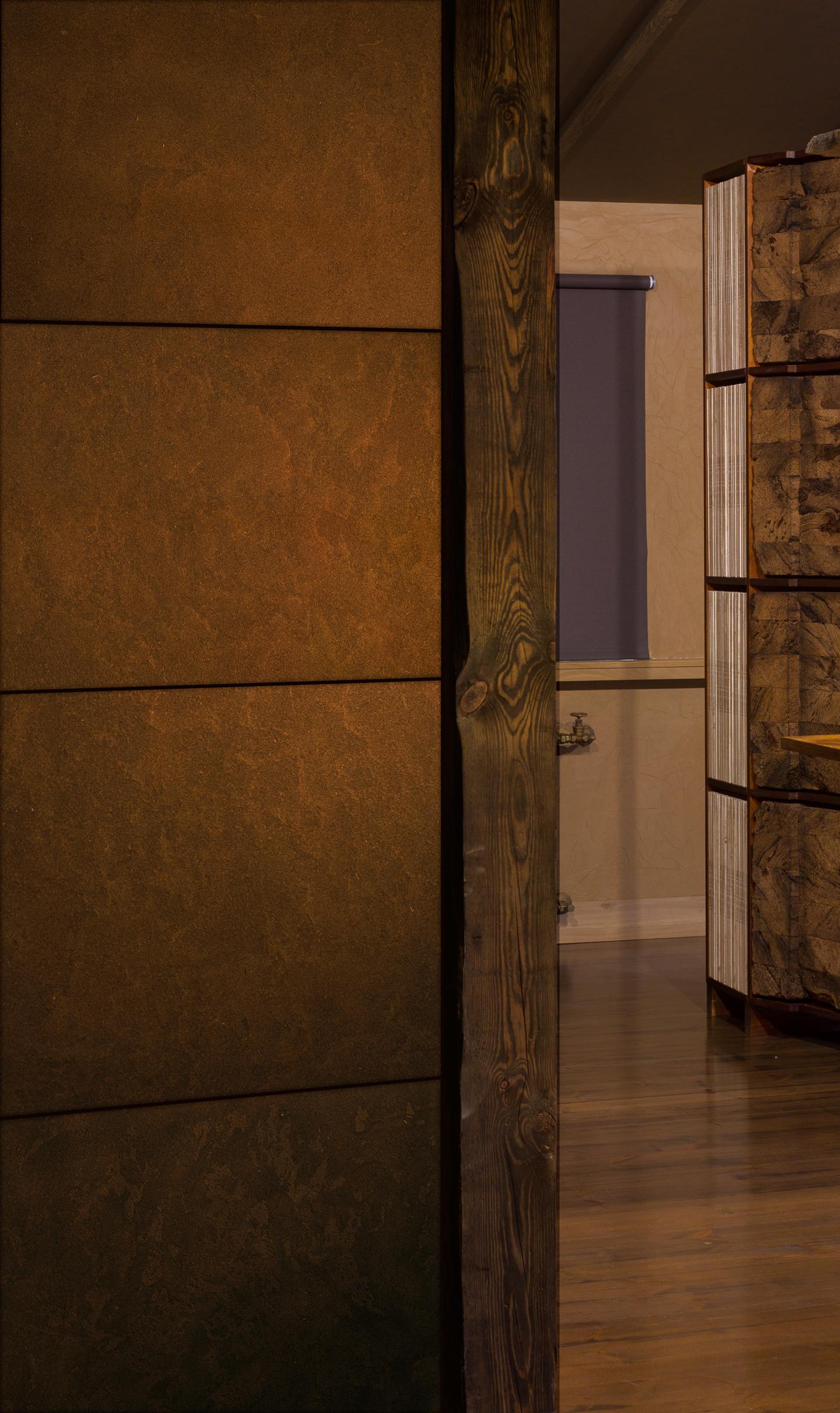 Peat Plastered Panel Wall (left)